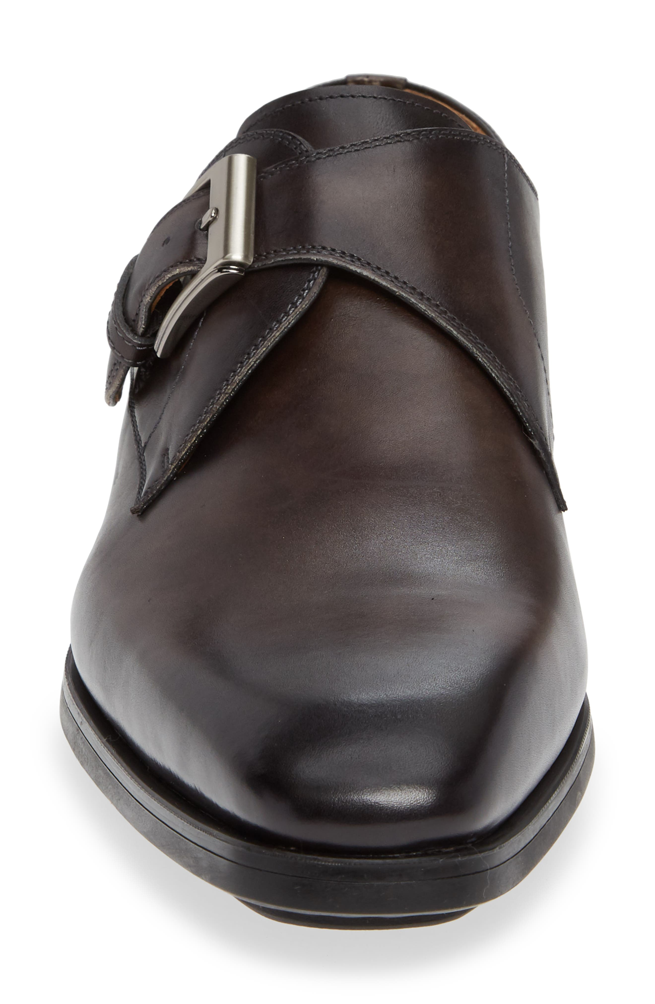MAGNANNI, Roddy Diversa Plain Toe Monk Strap Shoe, Alternate thumbnail 4, color, GREY LEATHER