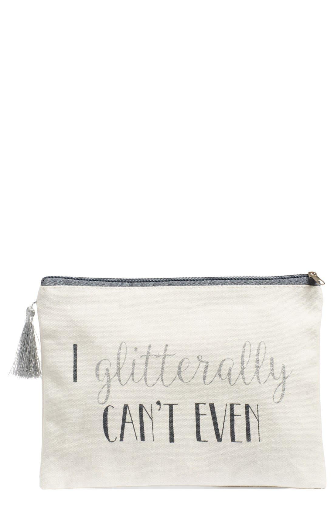 LEVTEX, 'I Glitterally Can't Even' Zip Top Pouch, Main thumbnail 1, color, 100