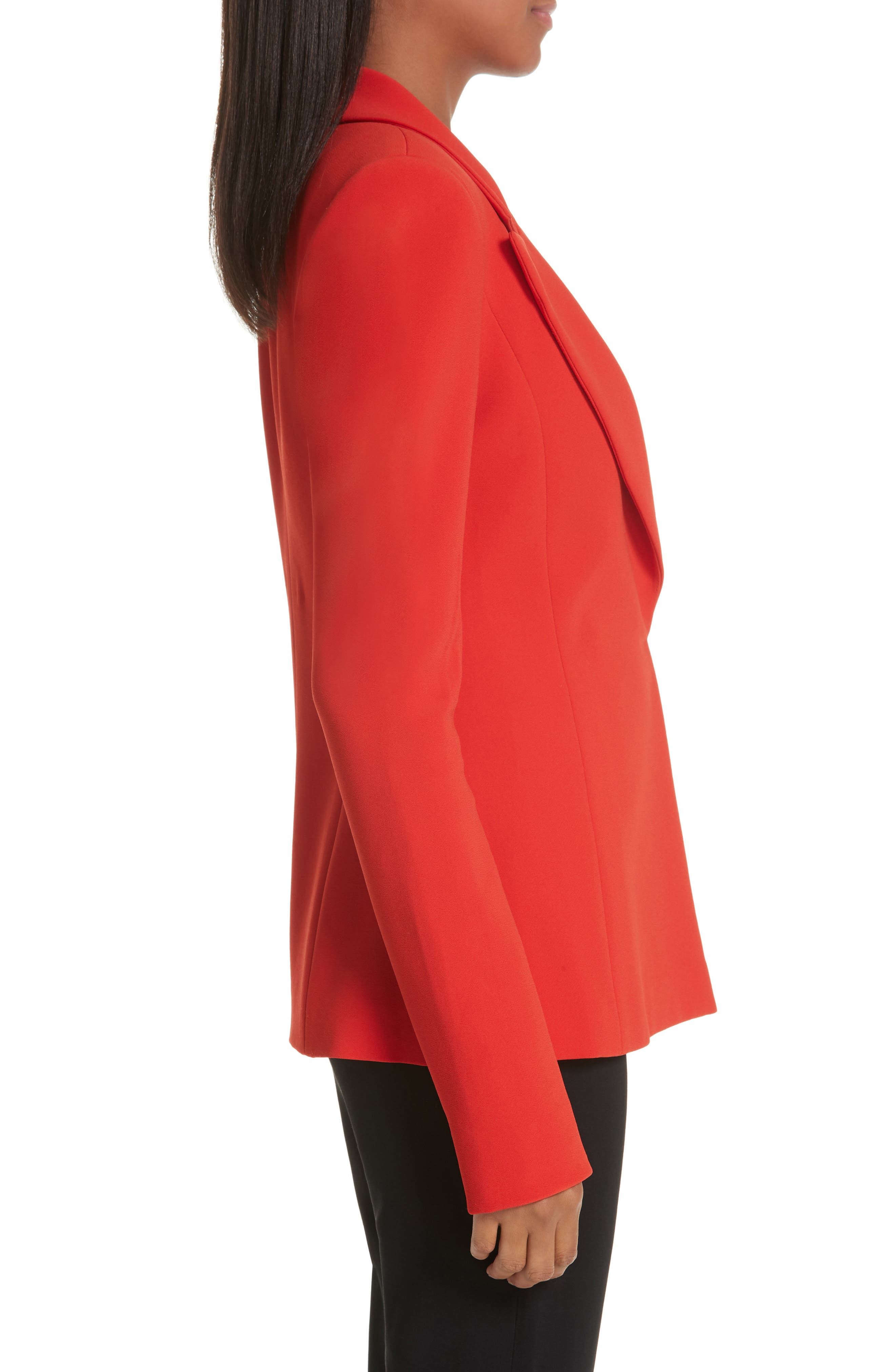 BRANDON MAXWELL, Notch Lapel Jacket, Alternate thumbnail 4, color, FUCHSIA