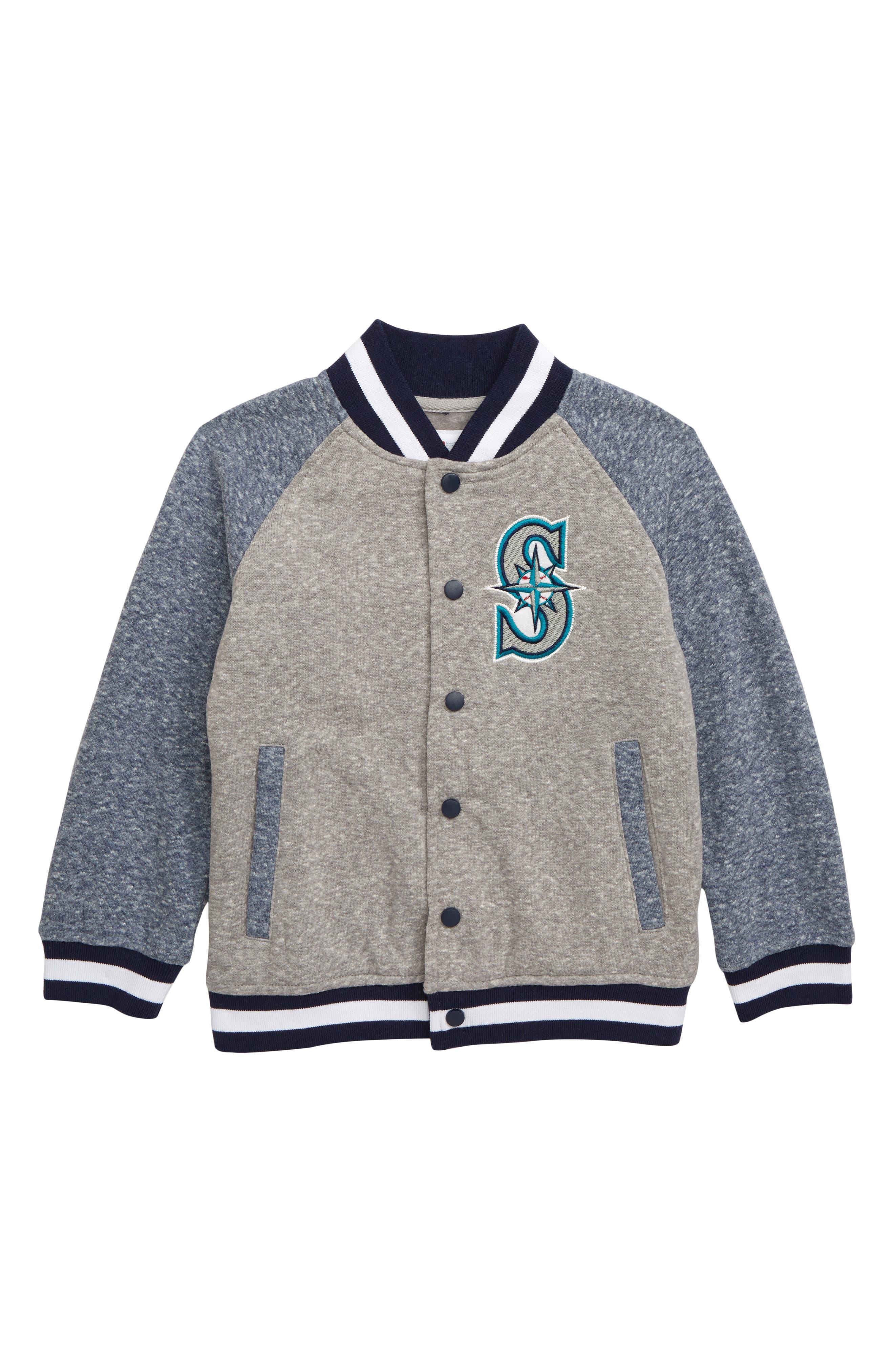 MAJESTIC MLB, Seattle Mariners Pride Fleece Bomber Jacket, Main thumbnail 1, color, NAVY