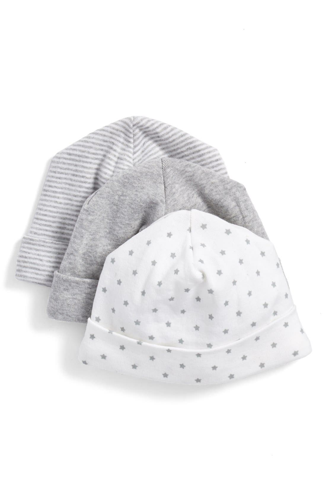 NORDSTROM BABY, Cotton Hats, Main thumbnail 1, color, GREY ASH HEATHER PACK