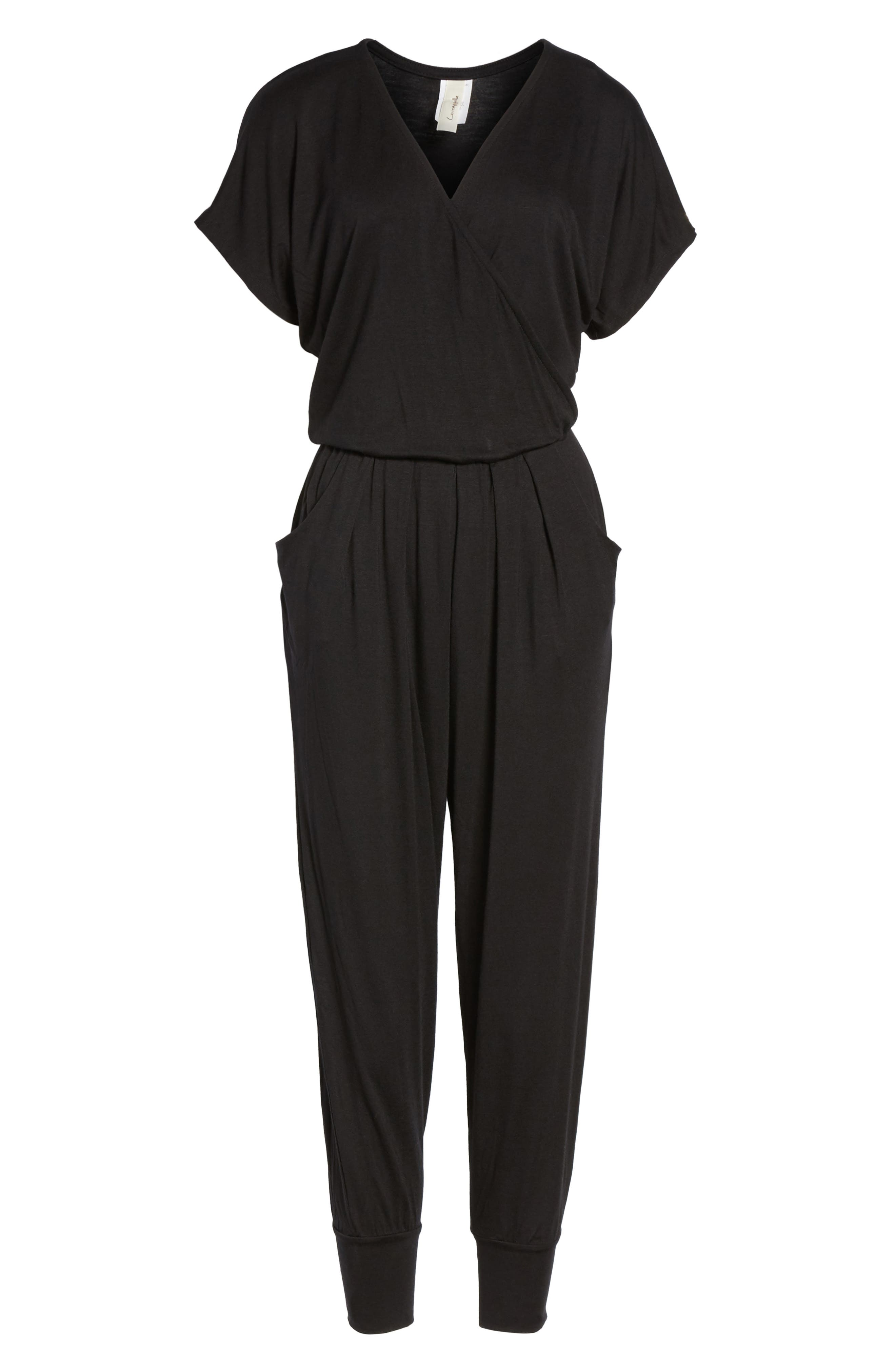 LOVEAPPELLA Short Sleeve Wrap Top Jumpsuit, Main, color, BLACK
