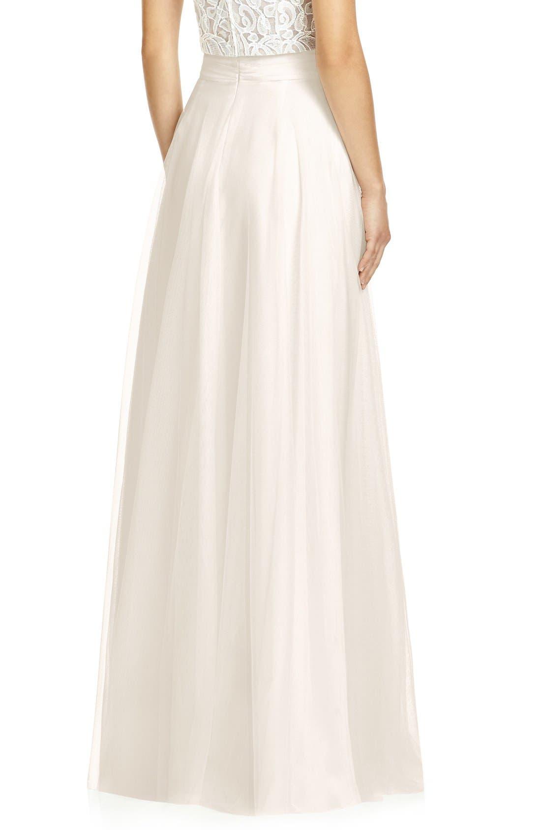 DESSY COLLECTION, Full Length Tulle Skirt, Alternate thumbnail 2, color, IVORY