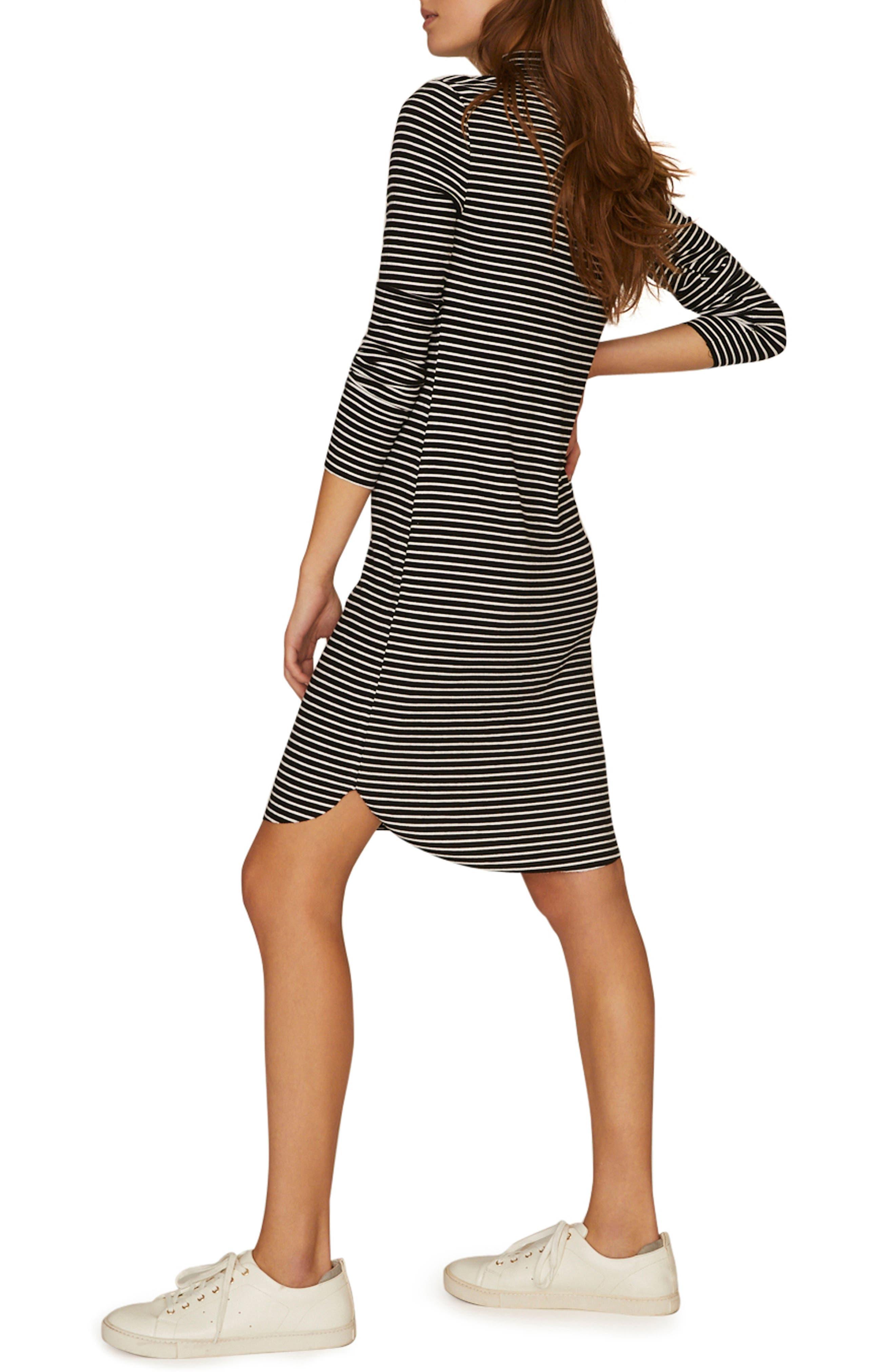 SANCTUARY, Essentials Stripe Mock Neck Dress, Alternate thumbnail 4, color, CLASSIC STRIPE BLACK
