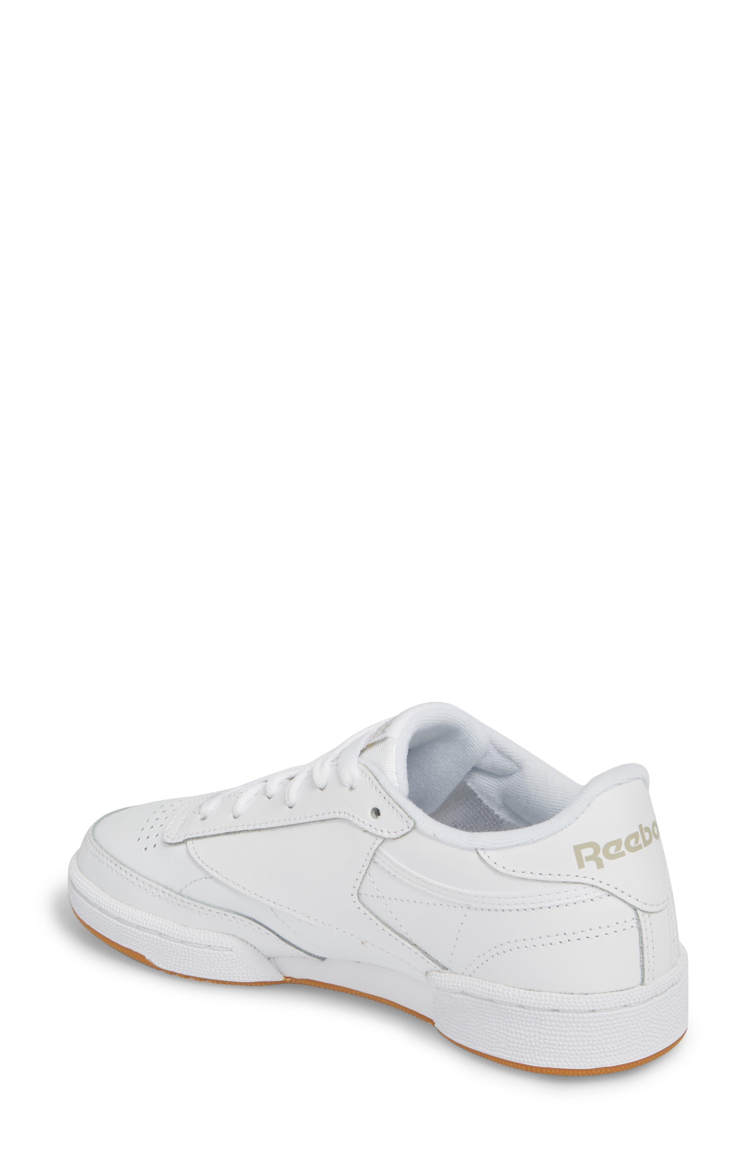 REEBOK, Club C 85 Sneaker, Alternate thumbnail 2, color, WHITE/ LIGHT GREY/ GUM