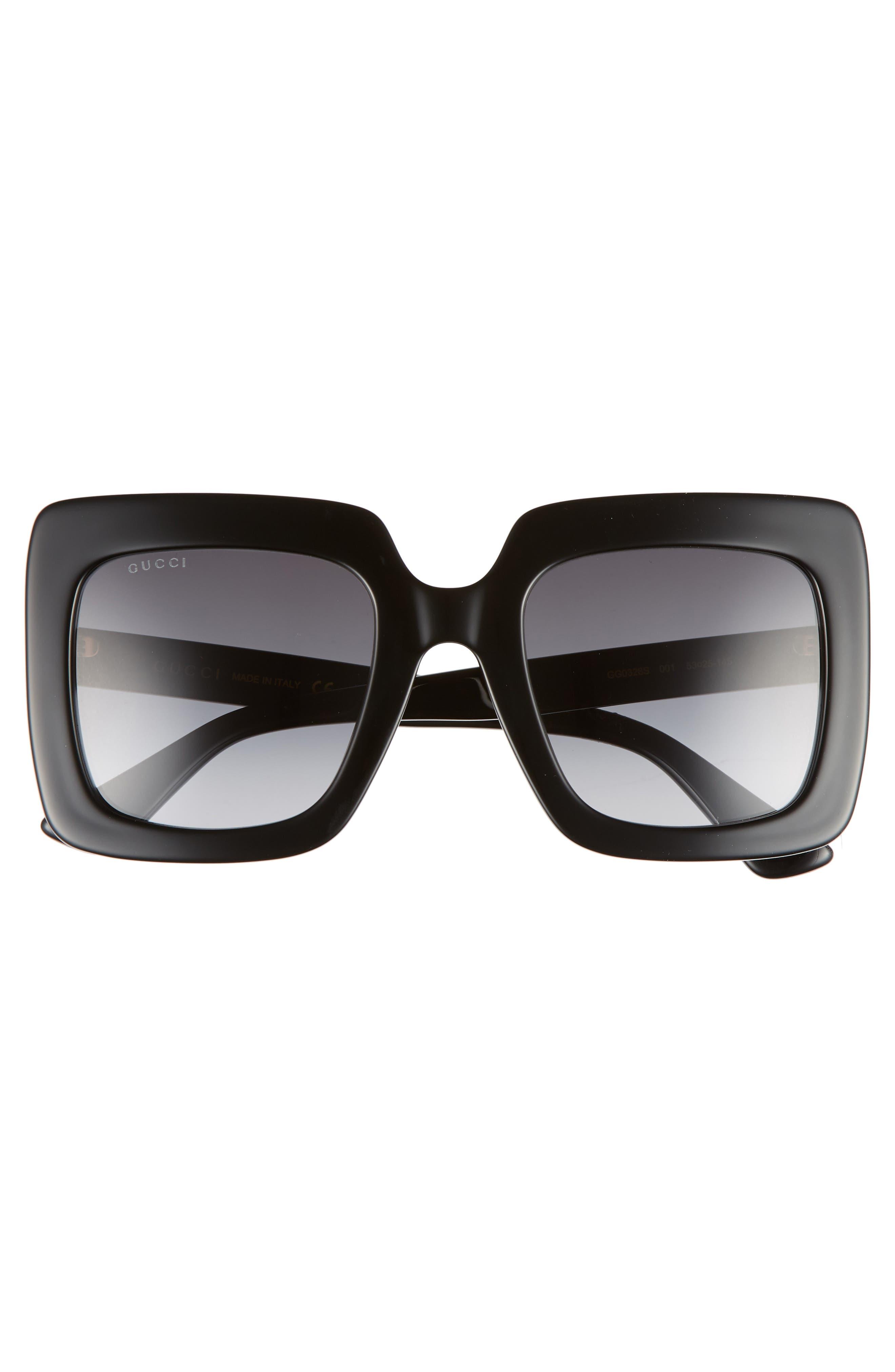 GUCCI, 53mm Square Sunglasses, Alternate thumbnail 3, color, BLACK