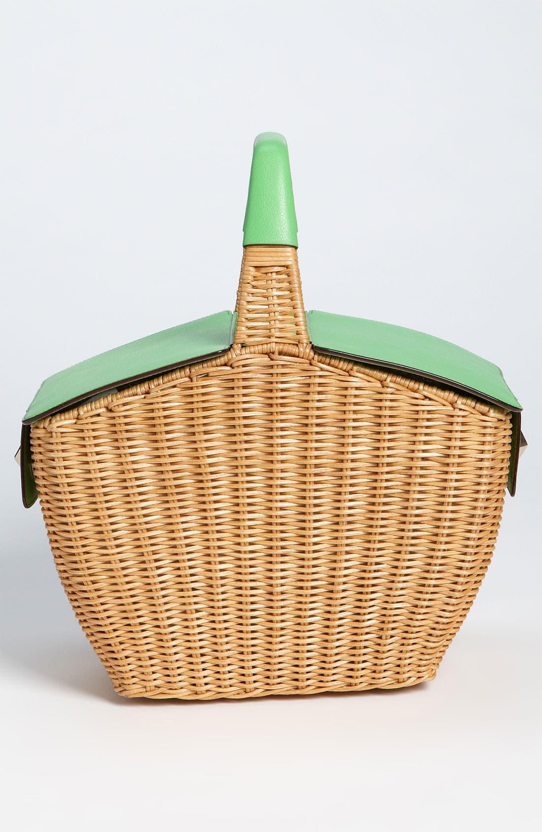KATE SPADE NEW YORK, 'linden' wicker basket, Alternate thumbnail 2, color, 128