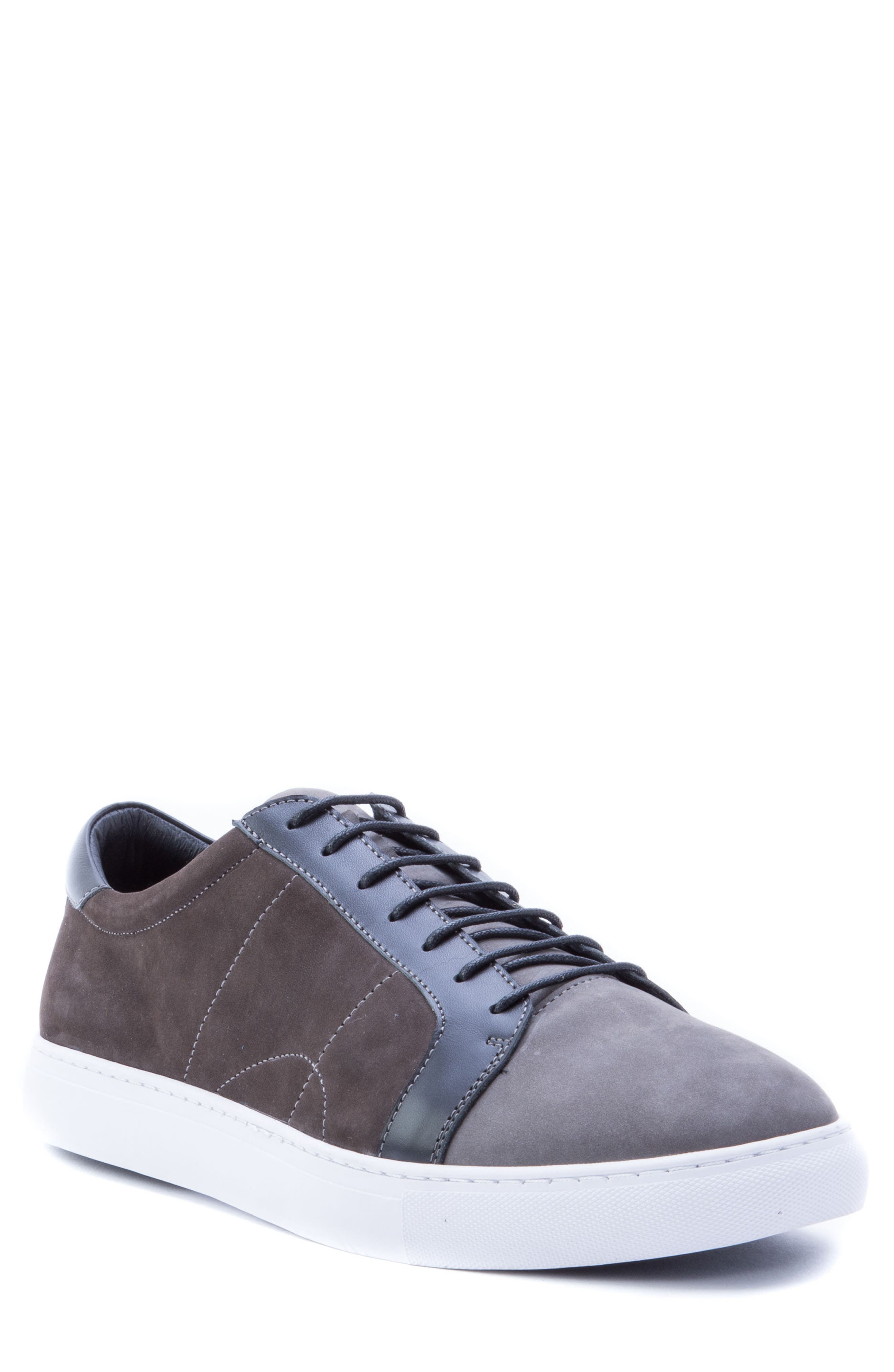 ROBERT GRAHAM, Gonzalo Low Top Sneaker, Main thumbnail 1, color, GREY SUEDE