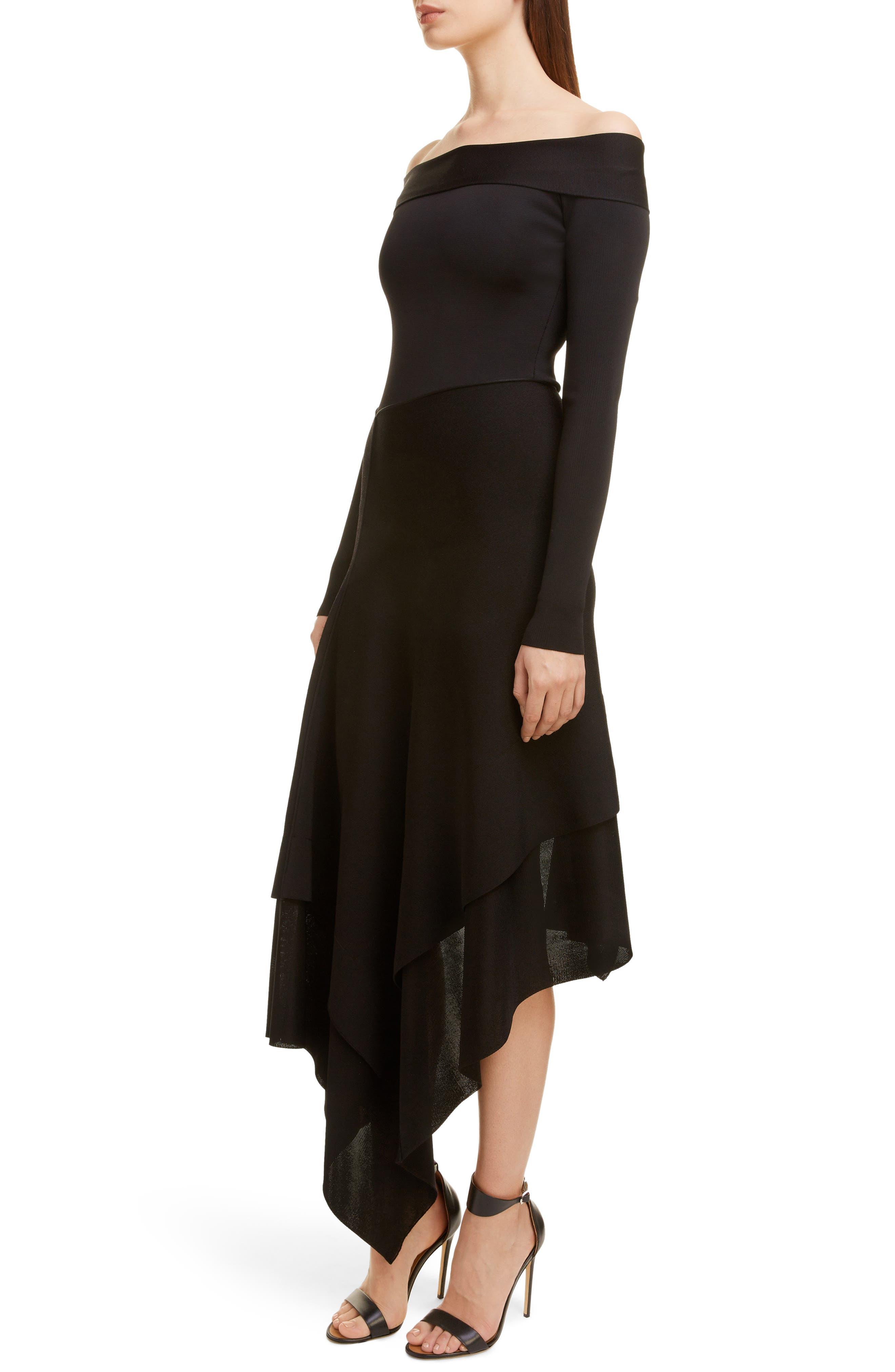 VICTORIA BECKHAM, Long Sleeve Off the Shoulder Asymmetrical Dress, Alternate thumbnail 4, color, BLACK