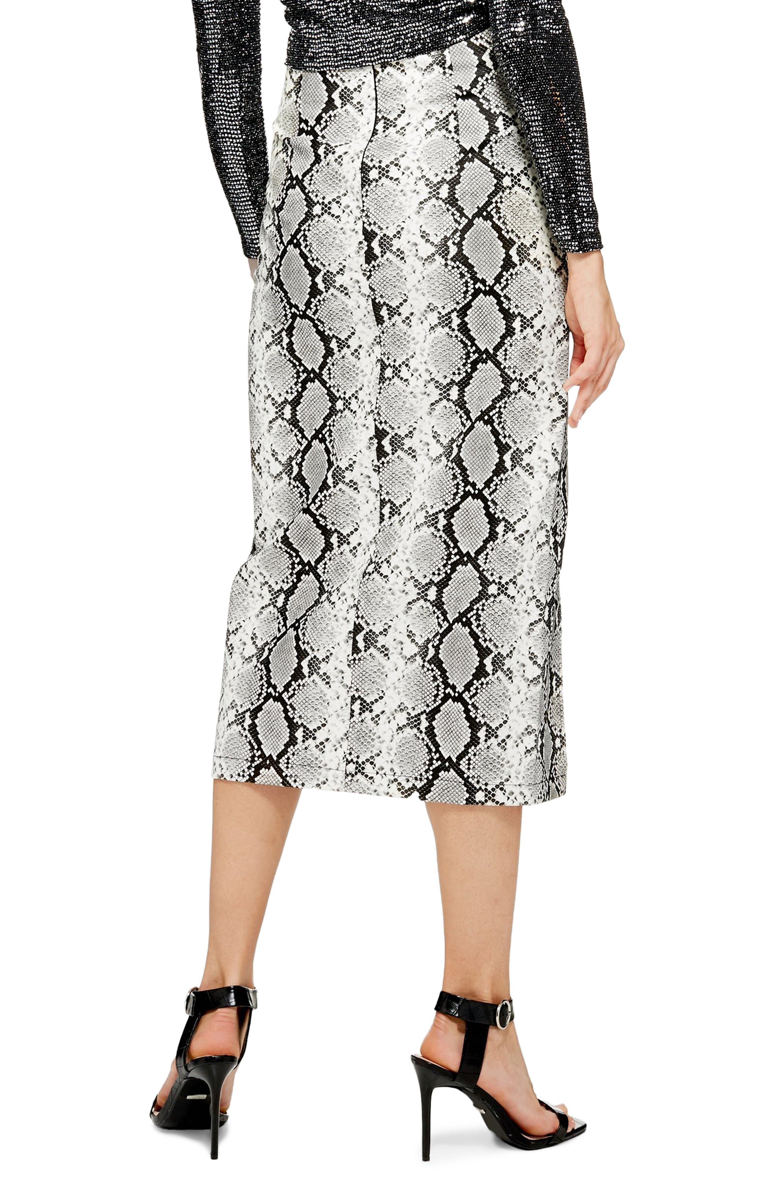 TOPSHOP, Snake Print Faux Leather Midi Skirt, Alternate thumbnail 2, color, 002