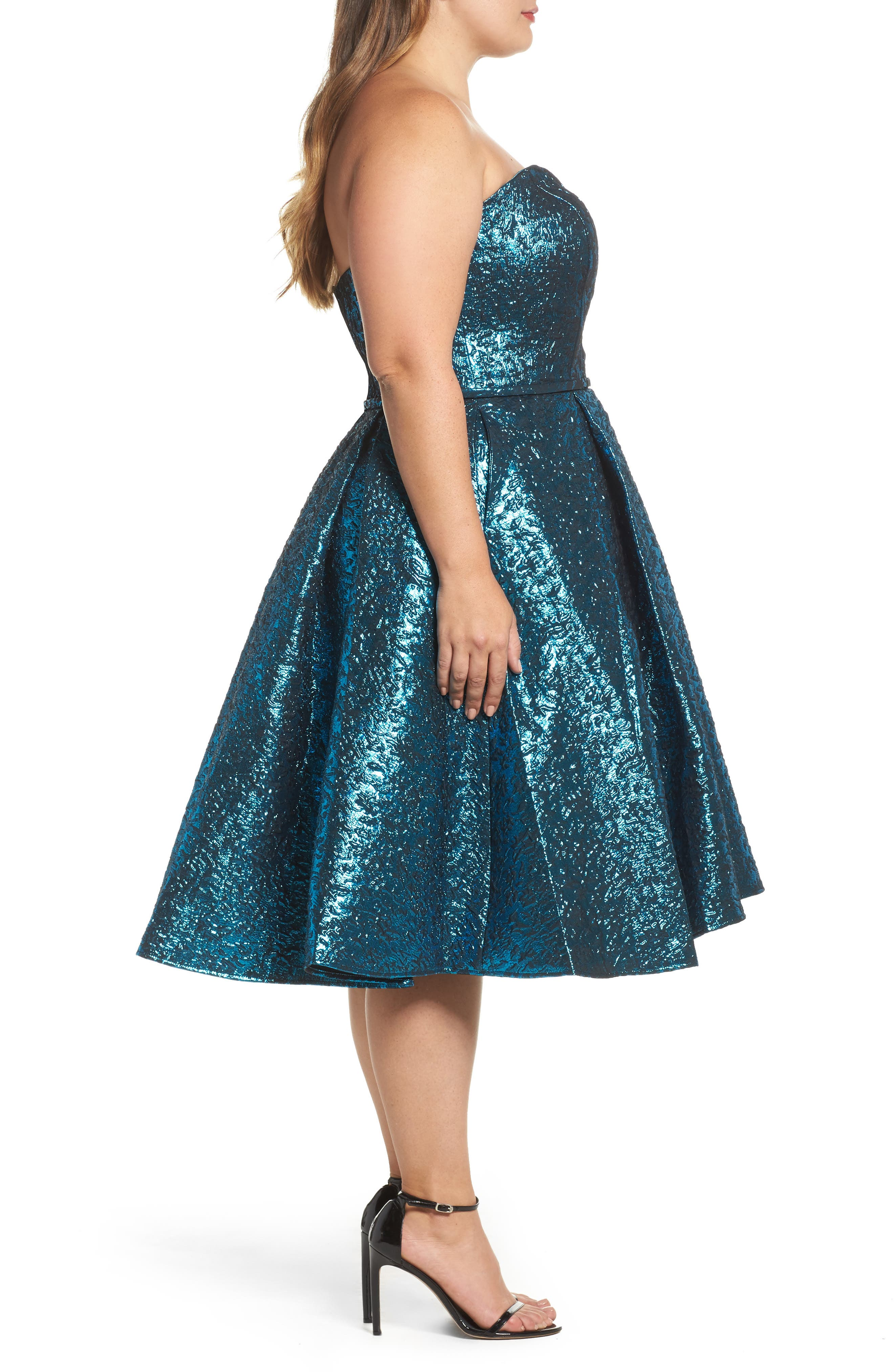 MAC DUGGAL, Metallic Fit & Flare Dress, Alternate thumbnail 3, color, TURQUOISE