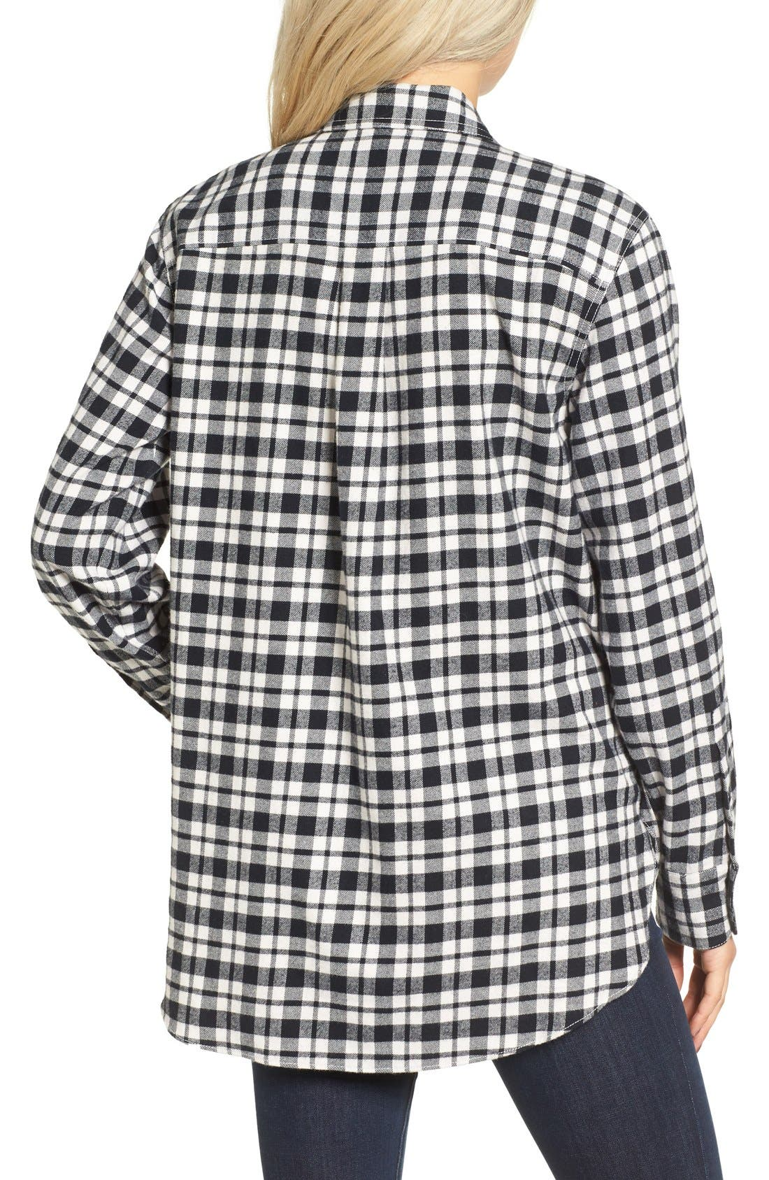 MADEWELL, Oversize Flannel Shirt, Alternate thumbnail 7, color, 002