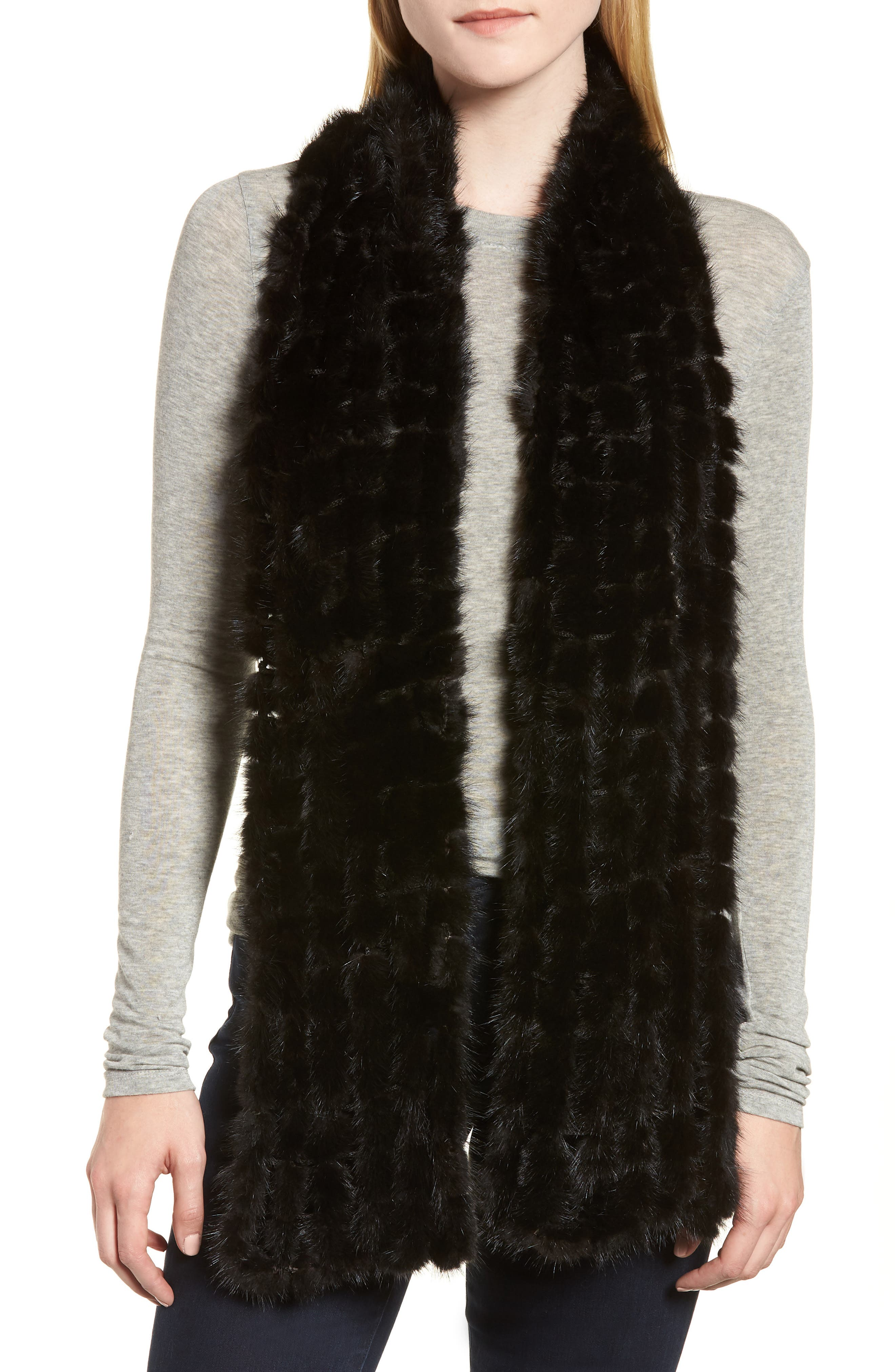 LA FIORENTINA Balled Genuine Mink Fur Muffler, Main, color, 001