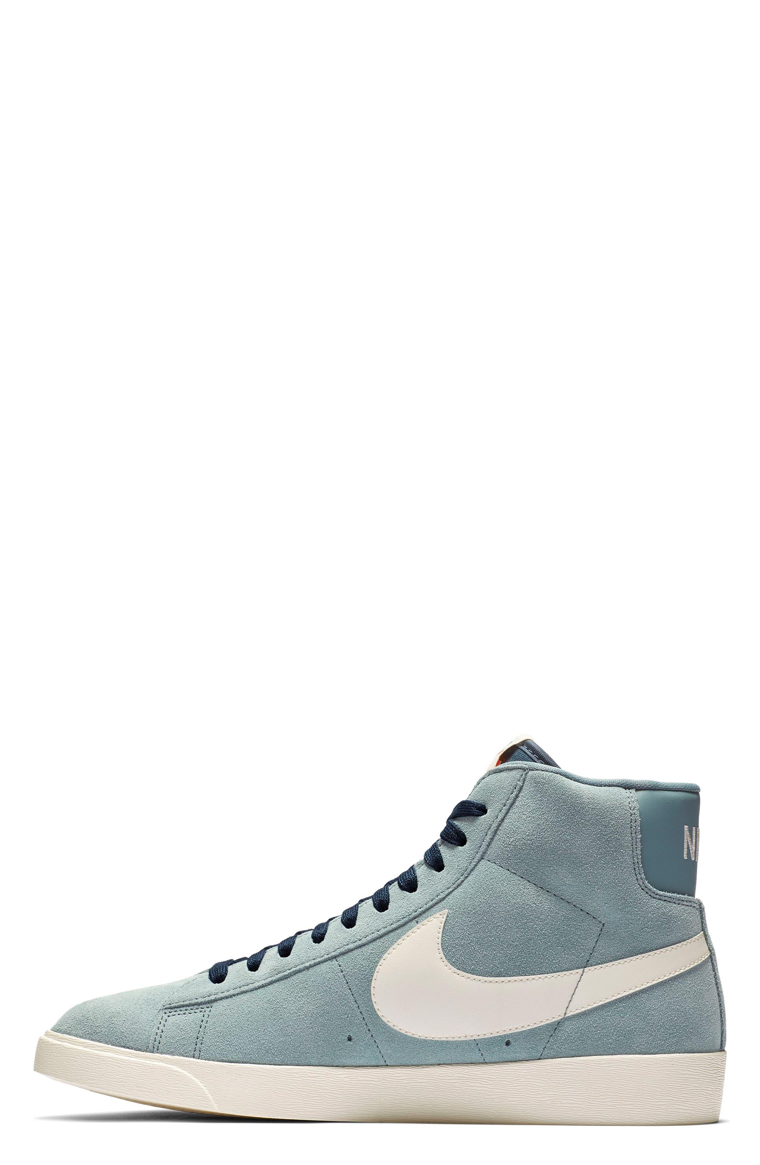 NIKE, Blazer Mid Vintage Sneaker, Alternate thumbnail 3, color, AVIATOR GREY/ SAIL/ BLUE