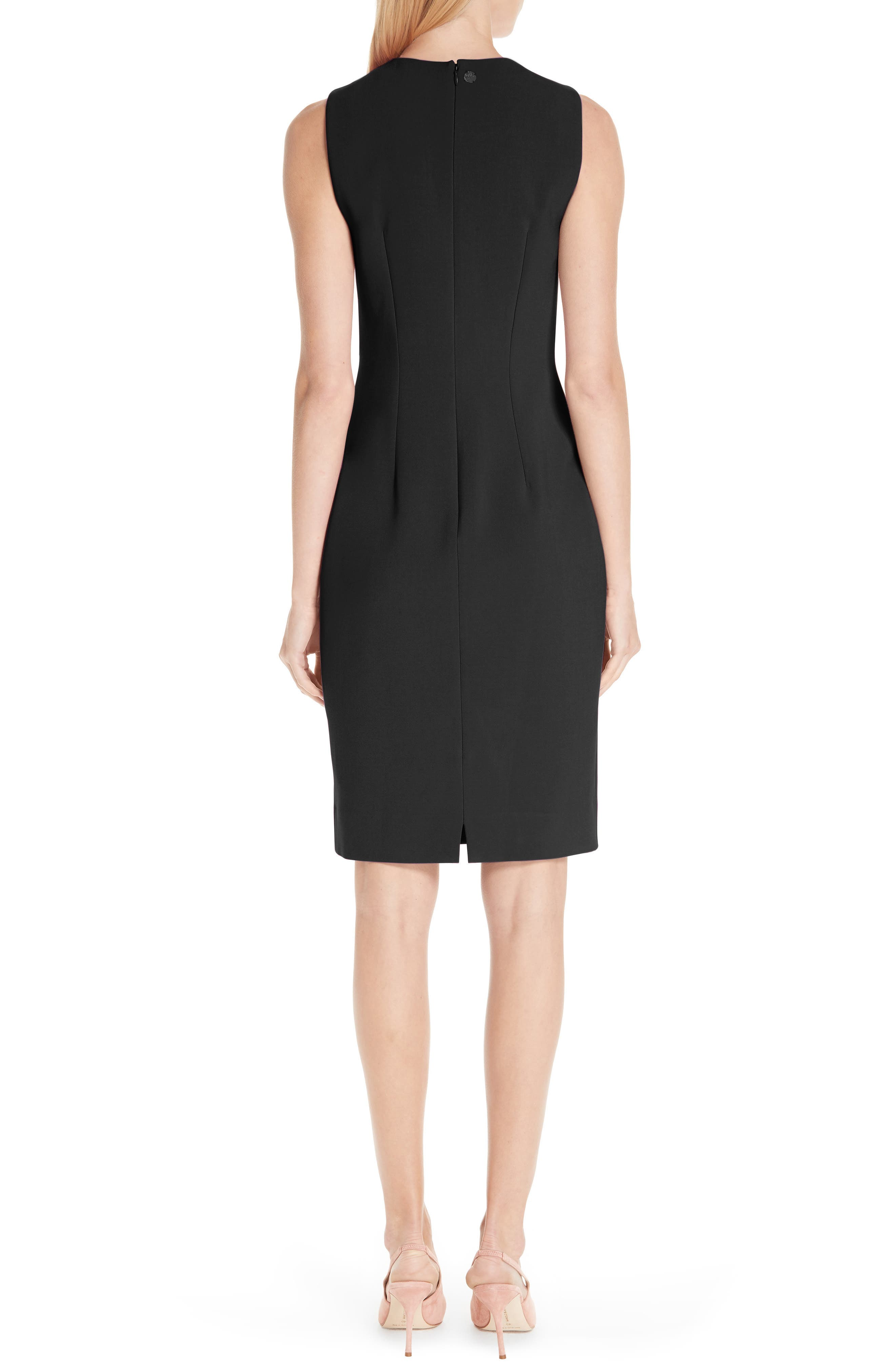 VERSACE COLLECTION, Stretch Cady Pencil Dress, Alternate thumbnail 2, color, 001