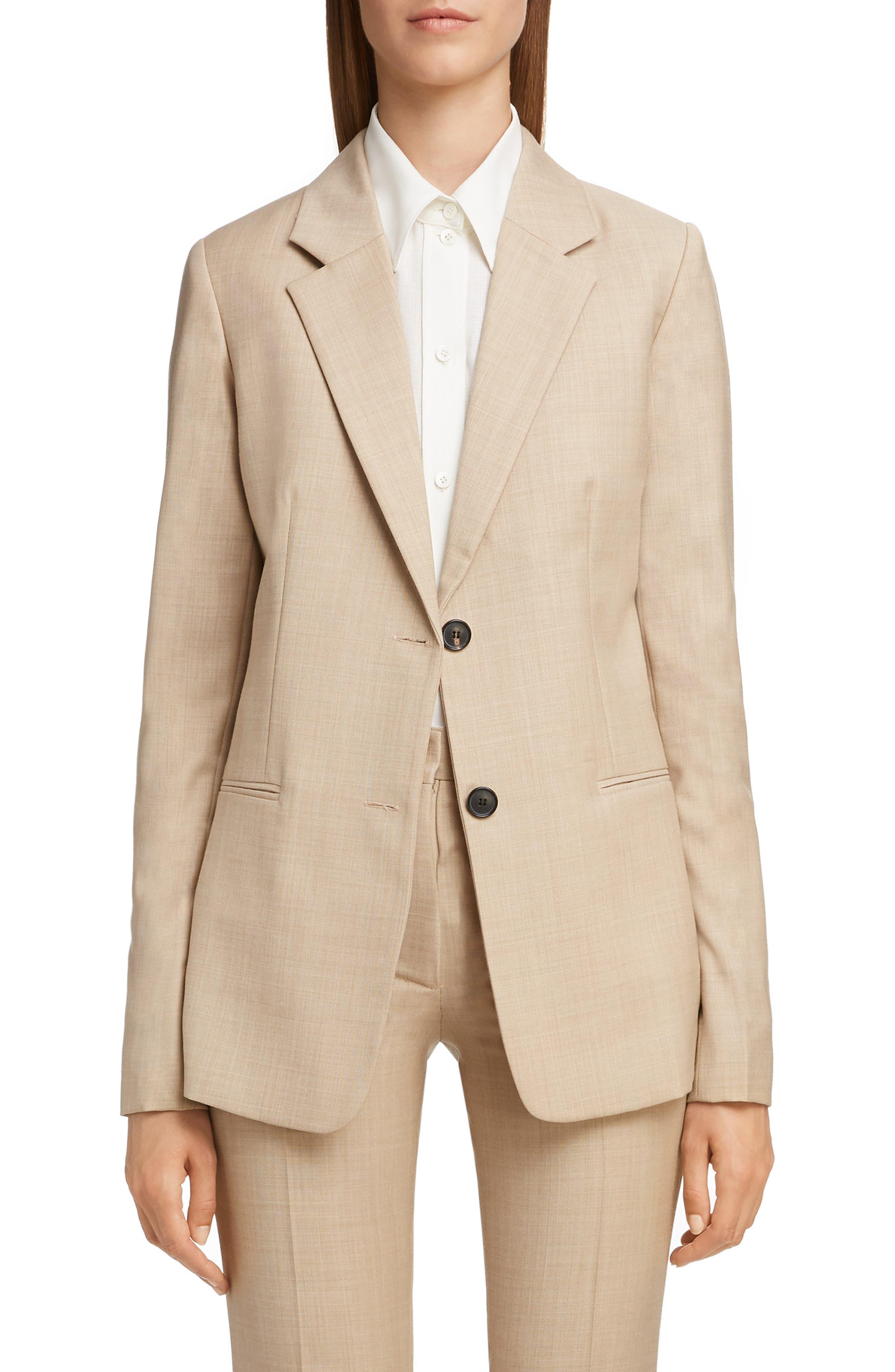 VICTORIA BECKHAM, Wool Jacket, Main thumbnail 1, color, LIGHT BEIGE-WHITE