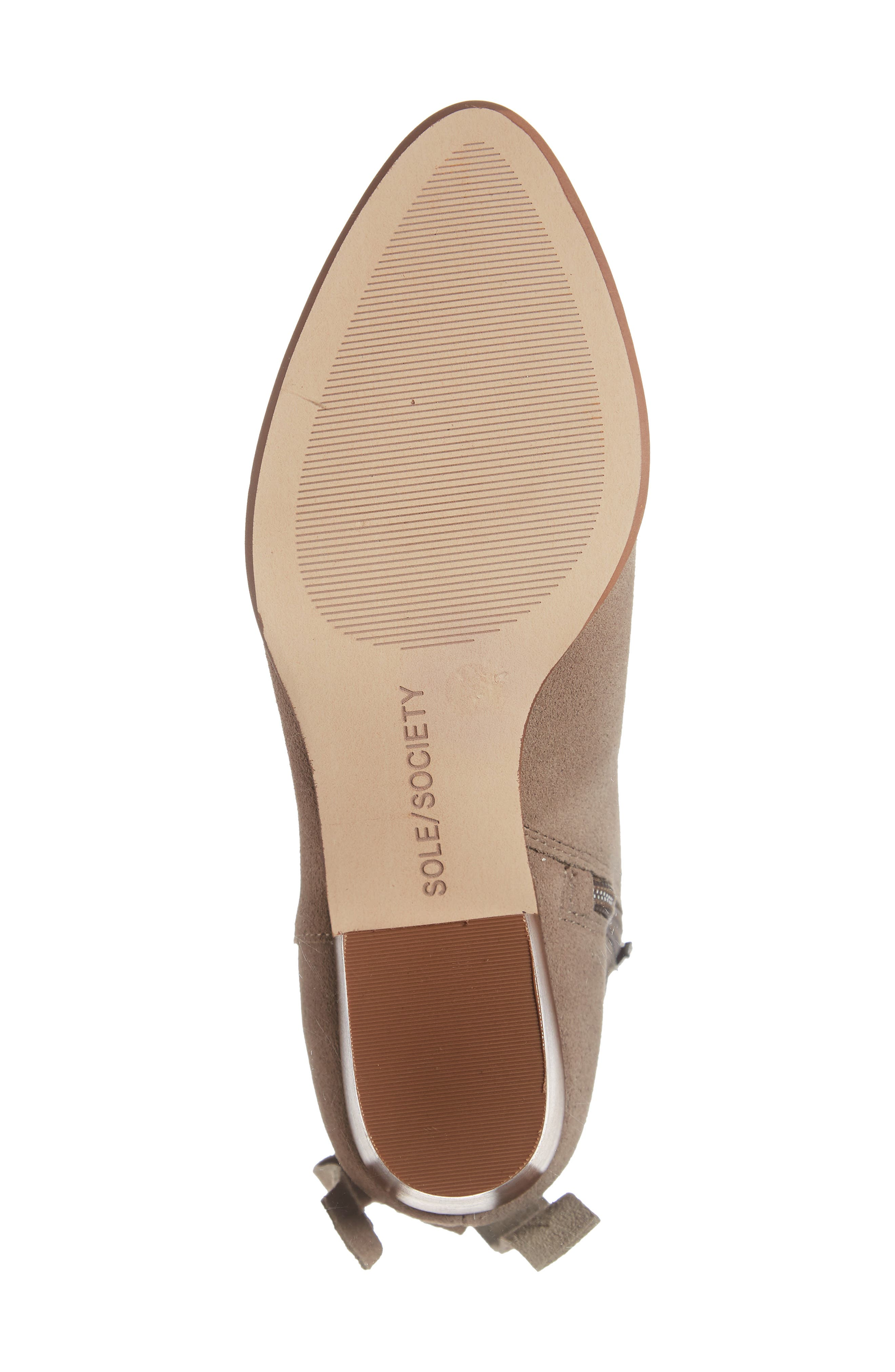 SOLE SOCIETY, Rhilynn Bootie, Alternate thumbnail 6, color, FALL TAUPE SUEDE