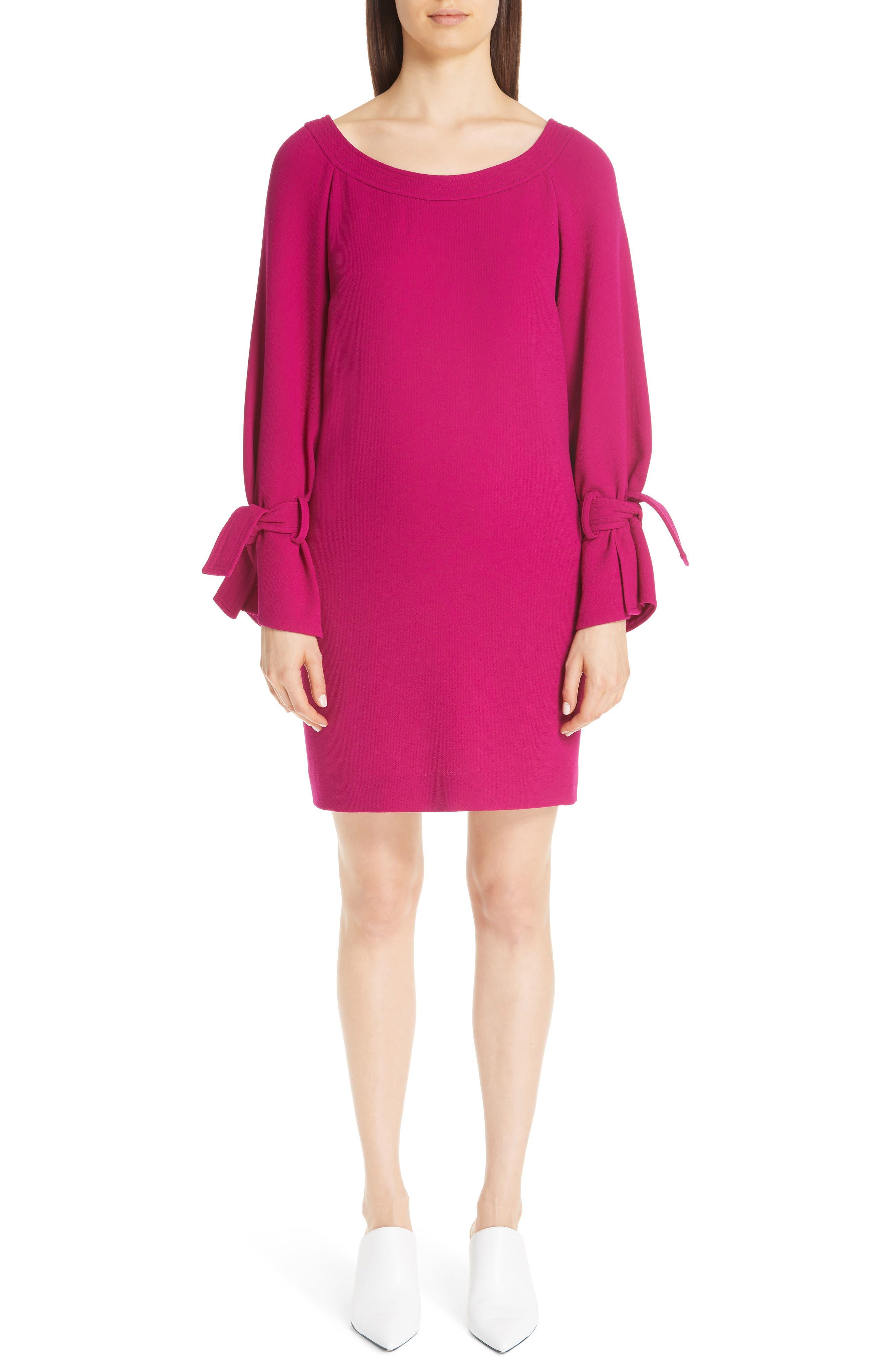 LELA ROSE, Tie Cuff Wool Blend Crepe Shift Dress, Alternate thumbnail 5, color, MAGENTA
