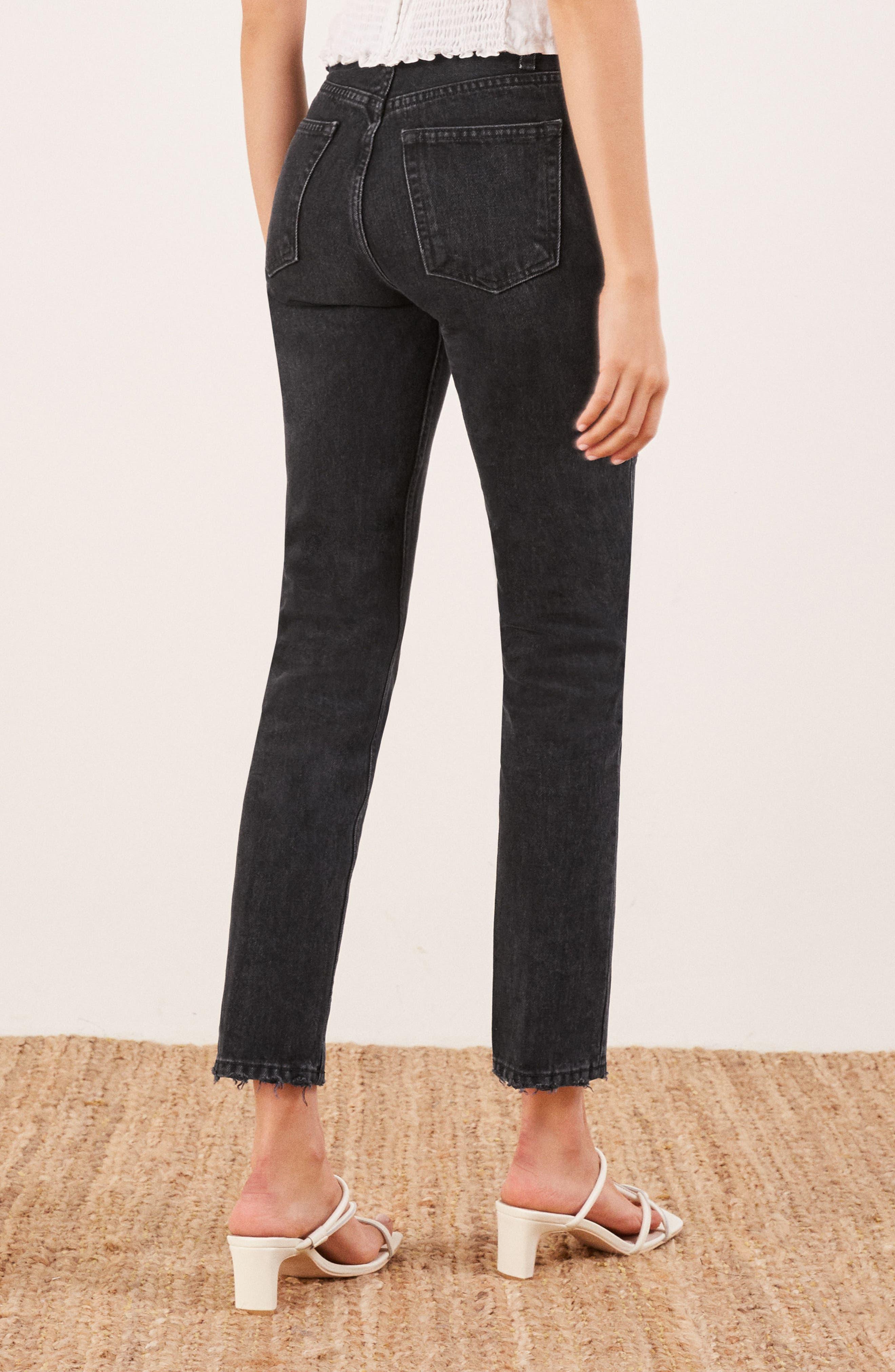 REFORMATION, Julia High Waist Cigarette Jeans, Alternate thumbnail 2, color, BLACK
