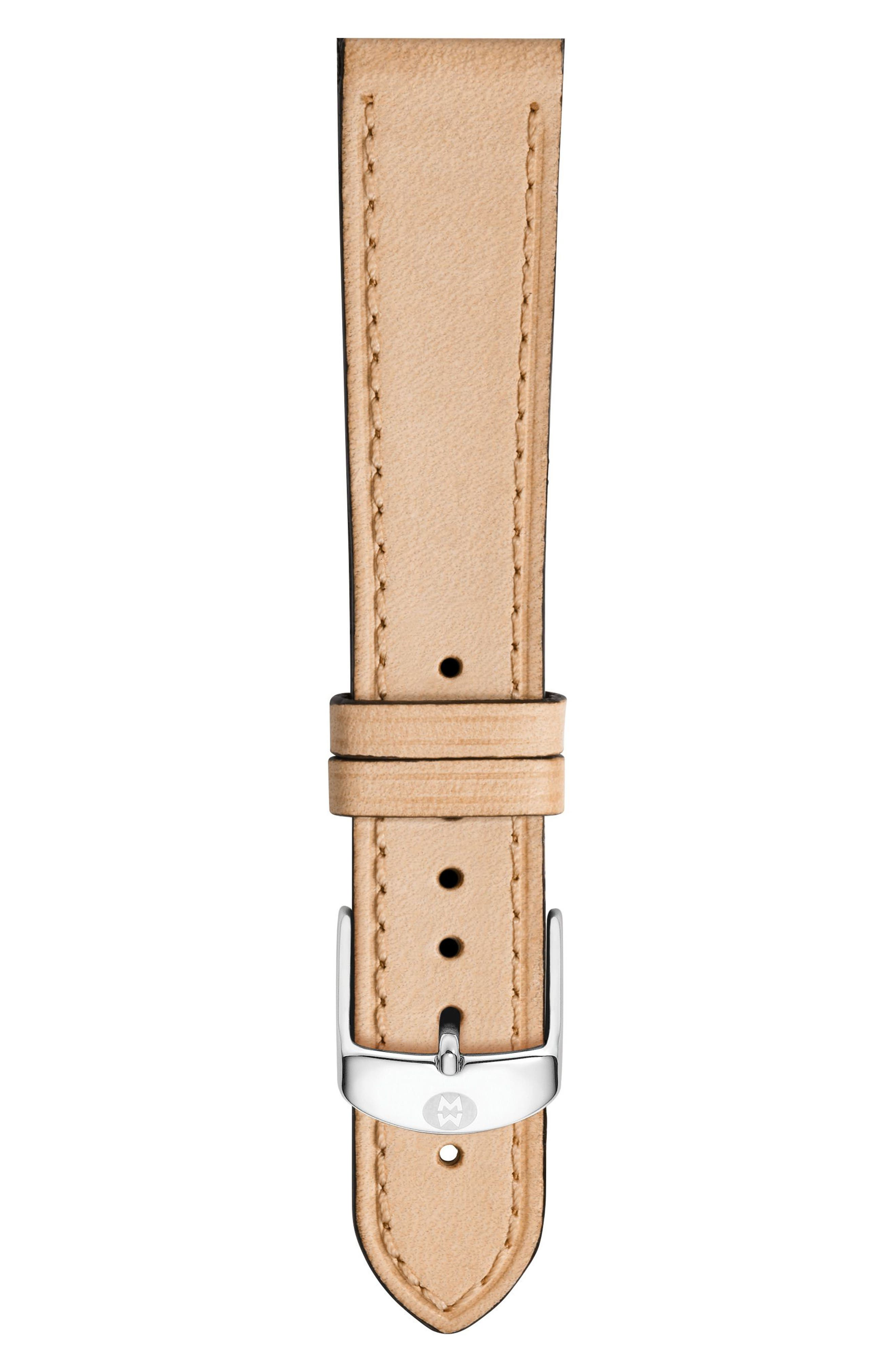 MICHELE 16mm Calfskin Leather Watch Strap, Main, color, TAN
