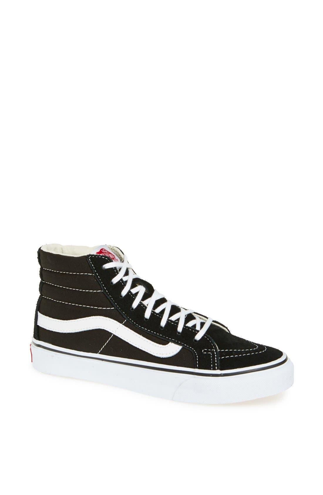 VANS, Sk8-Hi Slim High Top Sneaker, Main thumbnail 1, color, BLACK TRUE WHITE