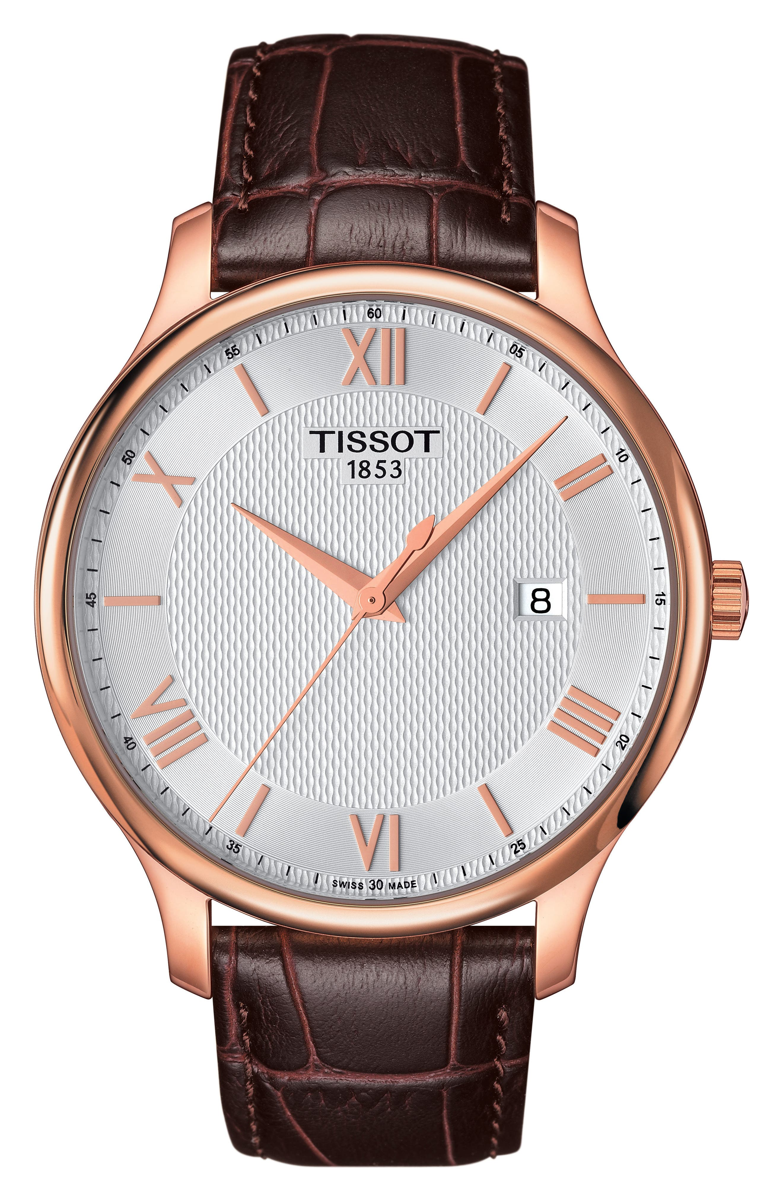 TISSOT, Tradition Leather Strap Watch, 42mm, Main thumbnail 1, color, BROWN/ SILVER/ ROSE GOLD