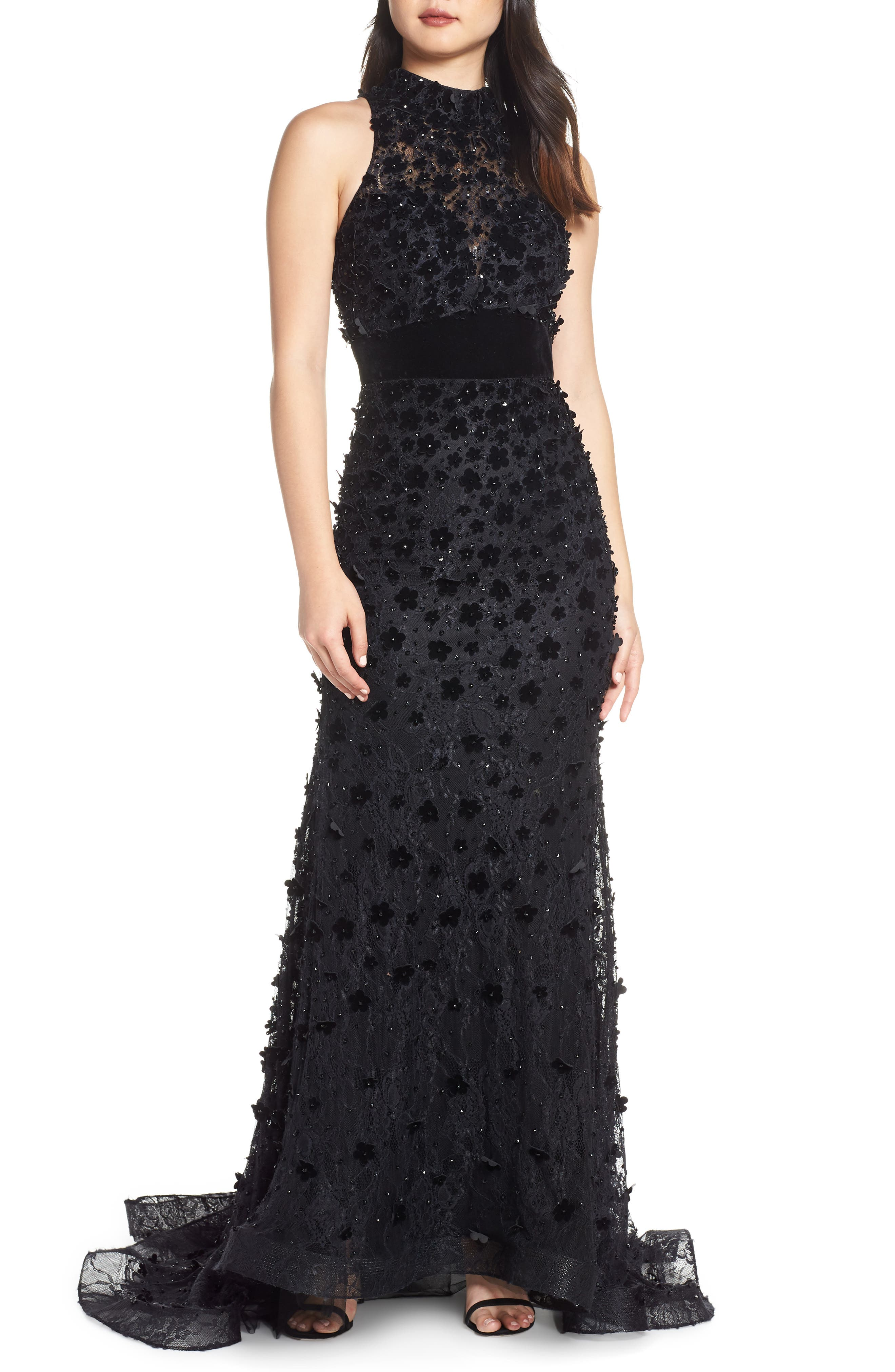 MAC DUGGAL, 3D Lace Evening Dress with Train, Main thumbnail 1, color, JET BLACK