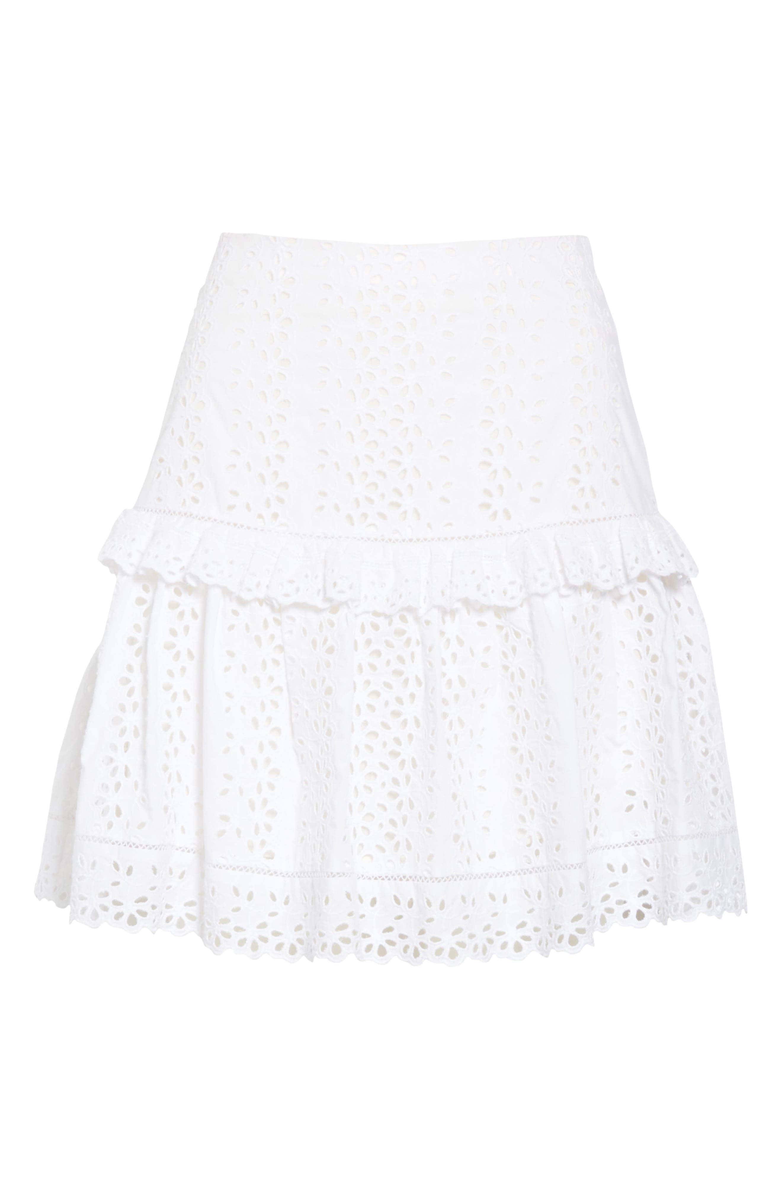 REBECCA TAYLOR, Karina Cotton Eyelet Skirt, Alternate thumbnail 6, color, MILK