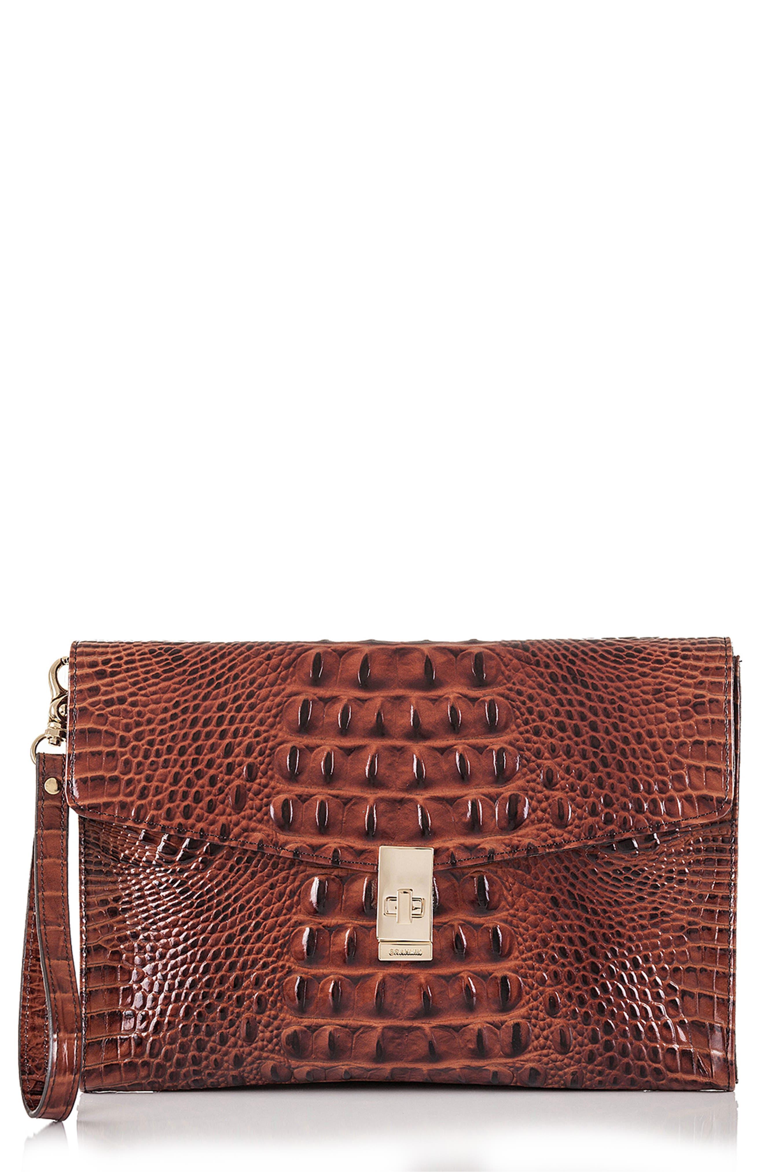 BRAHMIN, Ruth Croc Embossed Leather Clutch, Main thumbnail 1, color, PECAN MELBOURNE