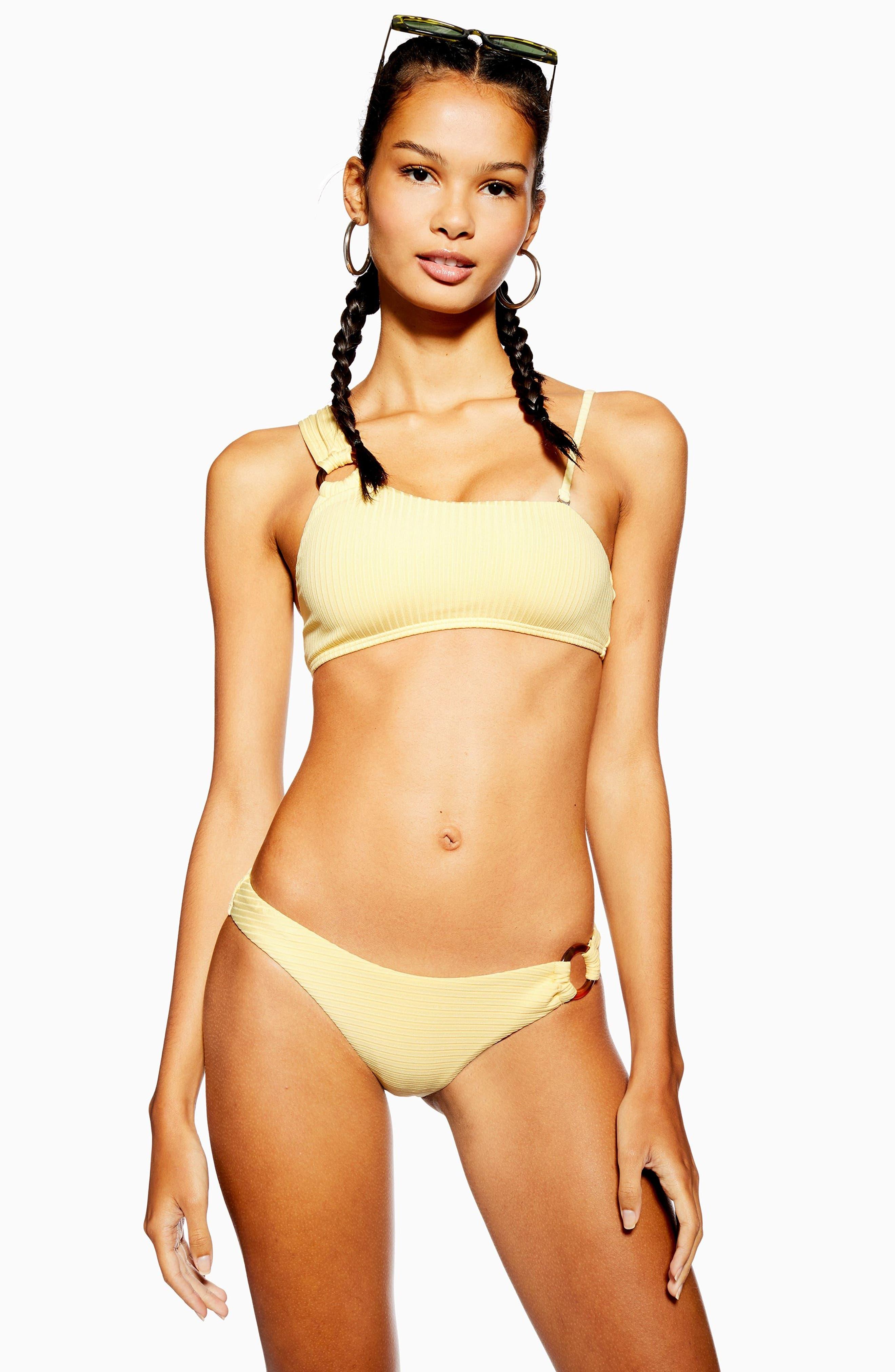 TOPSHOP, Ribbed Ring One-Shoulder Bikini Top, Alternate thumbnail 5, color, 700