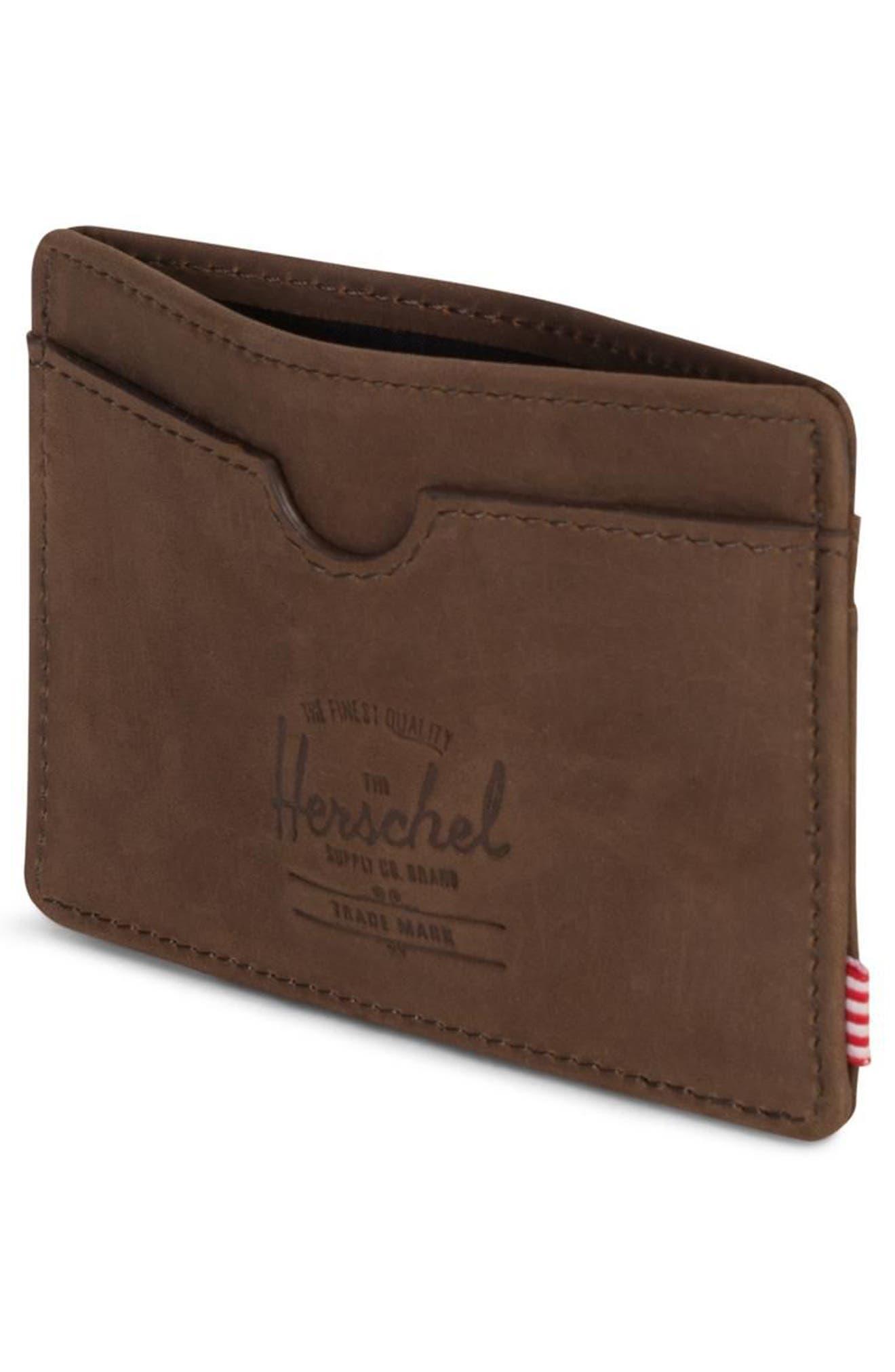 HERSCHEL SUPPLY CO., Charlie Nubuck Leather Card Case, Alternate thumbnail 3, color, NUBUCK BROWN