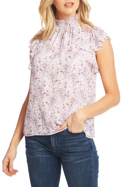 1.state Tops FLUTTER SLEEVE SMOCKED NECK BLOUSE