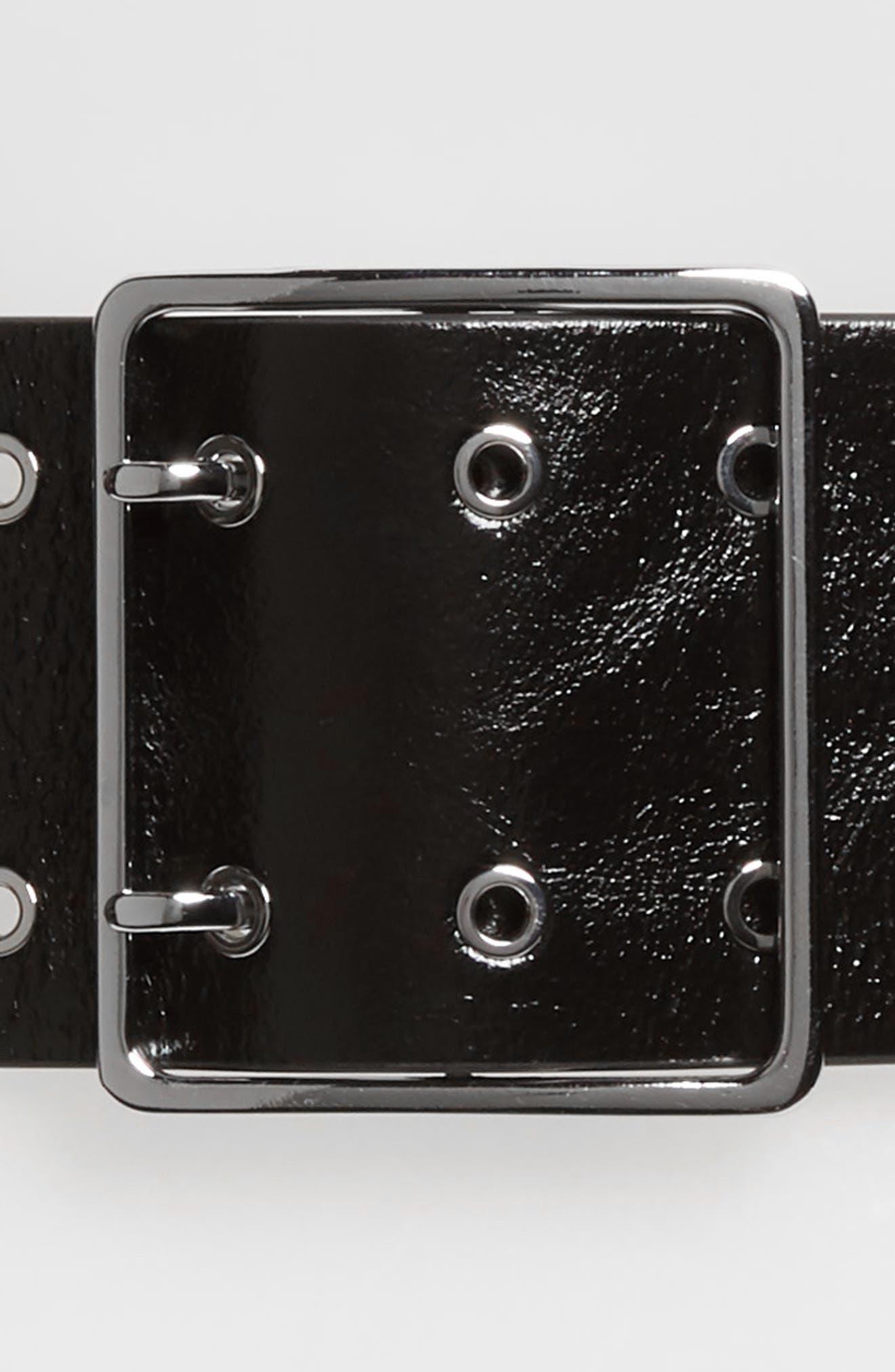 ALLSAINTS, Wide Grommet Belt, Alternate thumbnail 3, color, BLACK