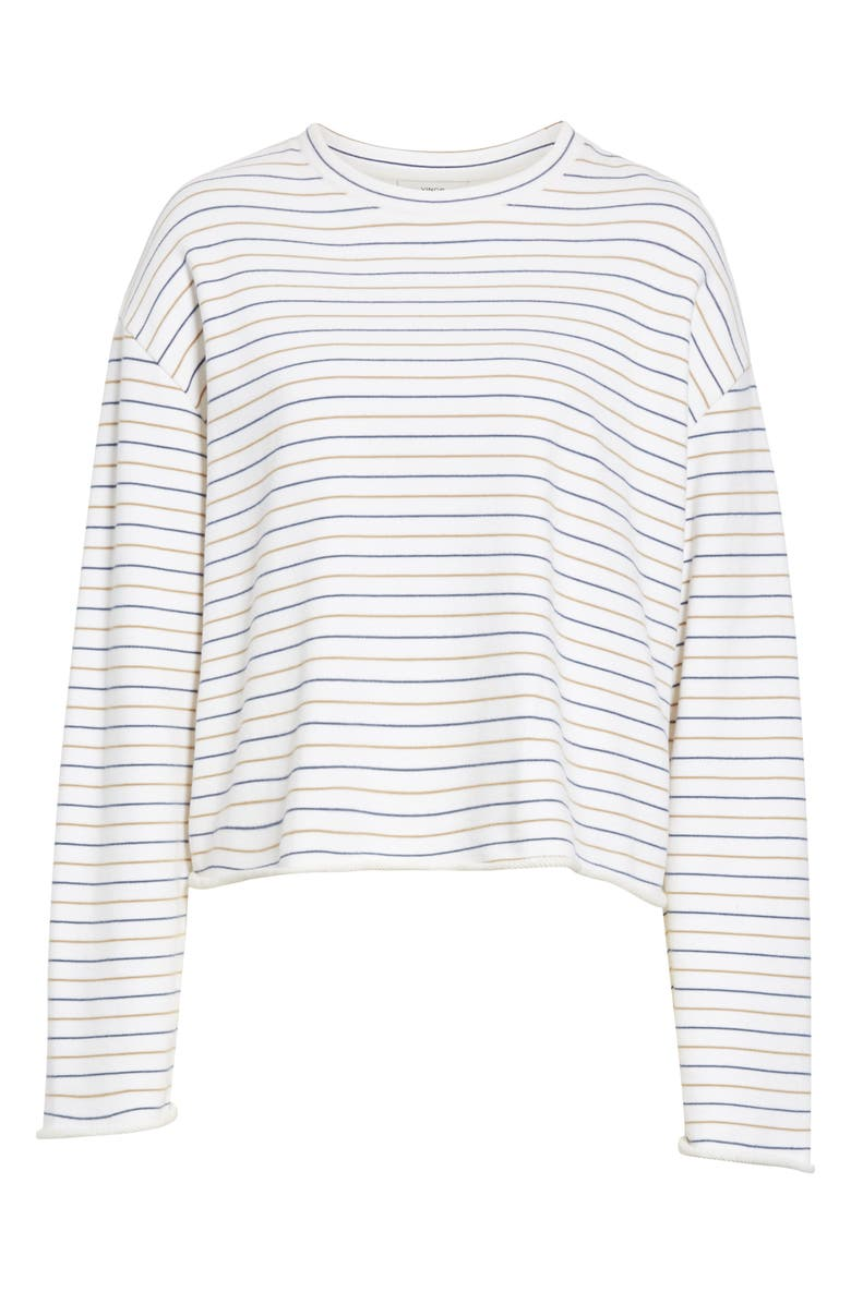 4933c5070b Vince Tri-Stripe Long-Sleeve Pullover Sweater In Off White/ Navy/ Brown
