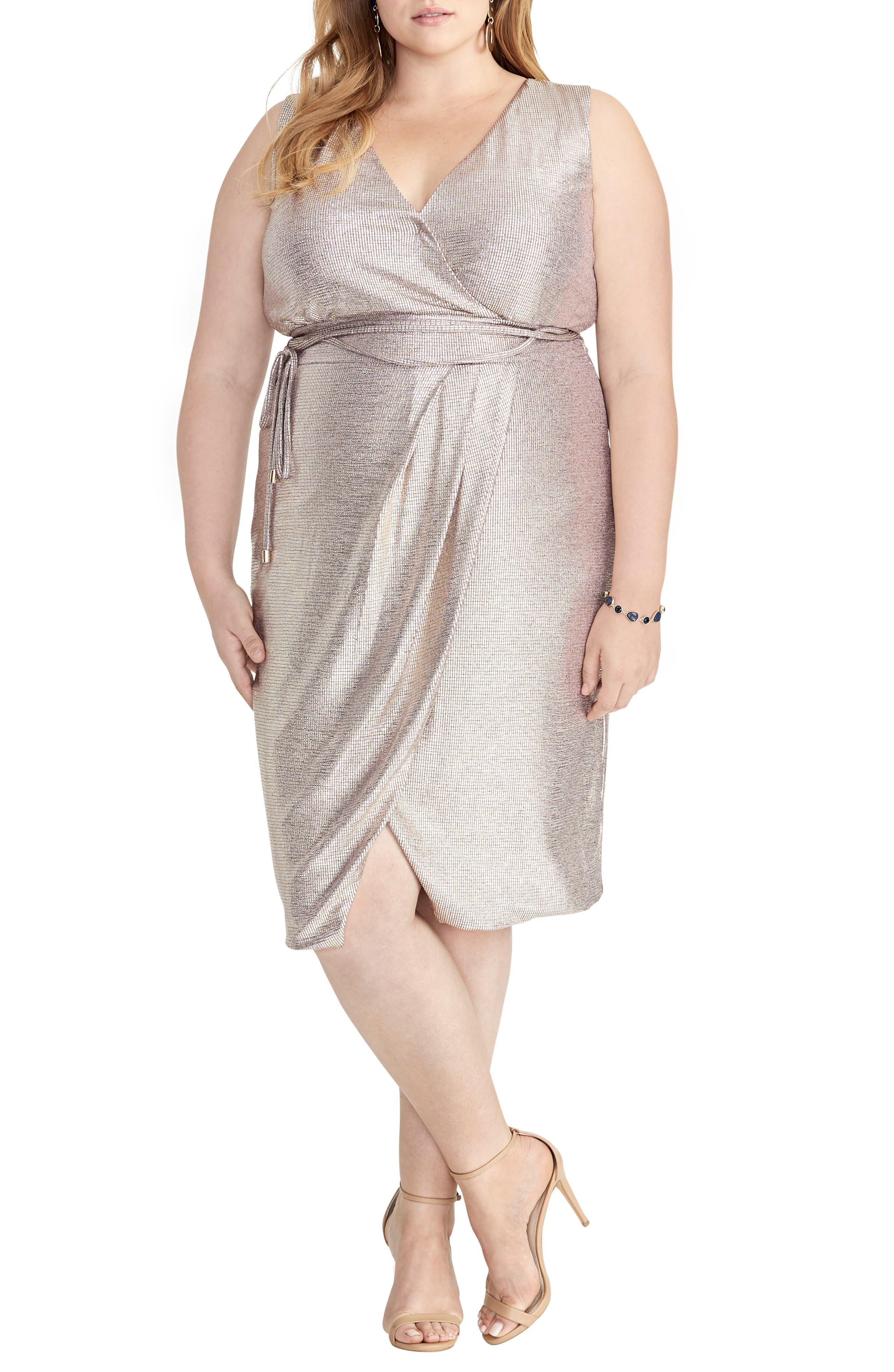 Plus Size Rachel Rachel Roy Foiled Faux Wrap Dress, Metallic