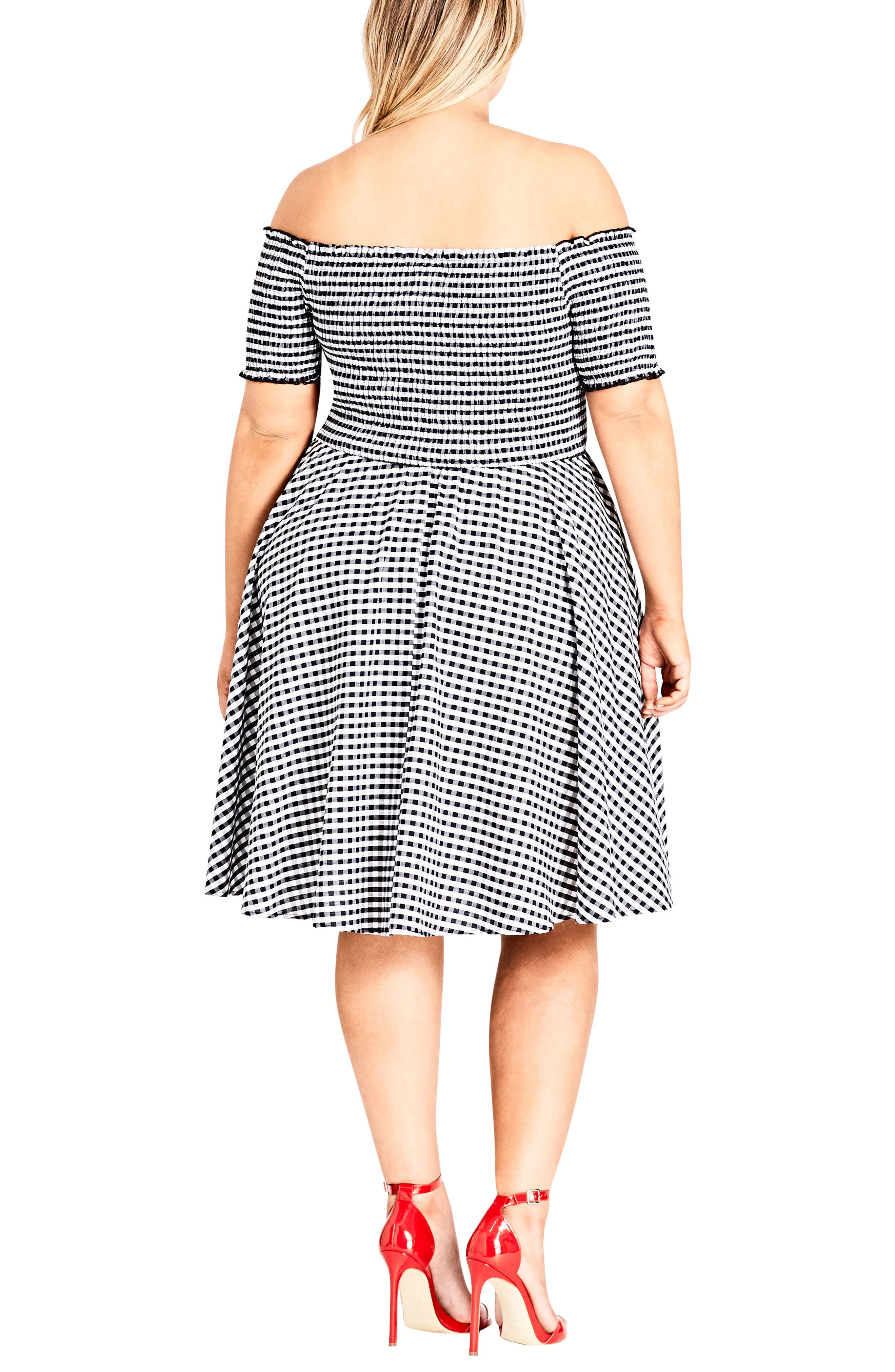 CITY CHIC, Gingham Off the Shoulder Fit & Flare Dress, Alternate thumbnail 2, color, GINGHAM