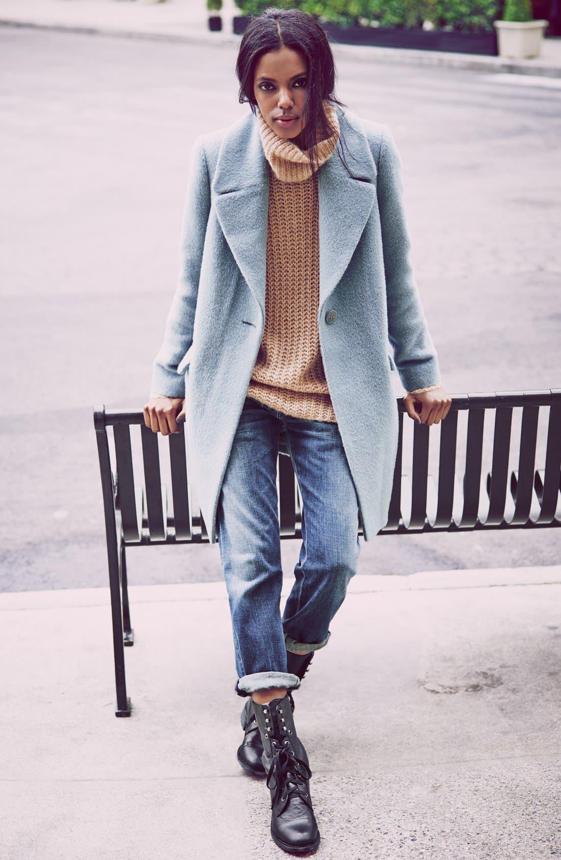 TROUVÉ Scrunch Turtleneck Sweater, Main, color, 001