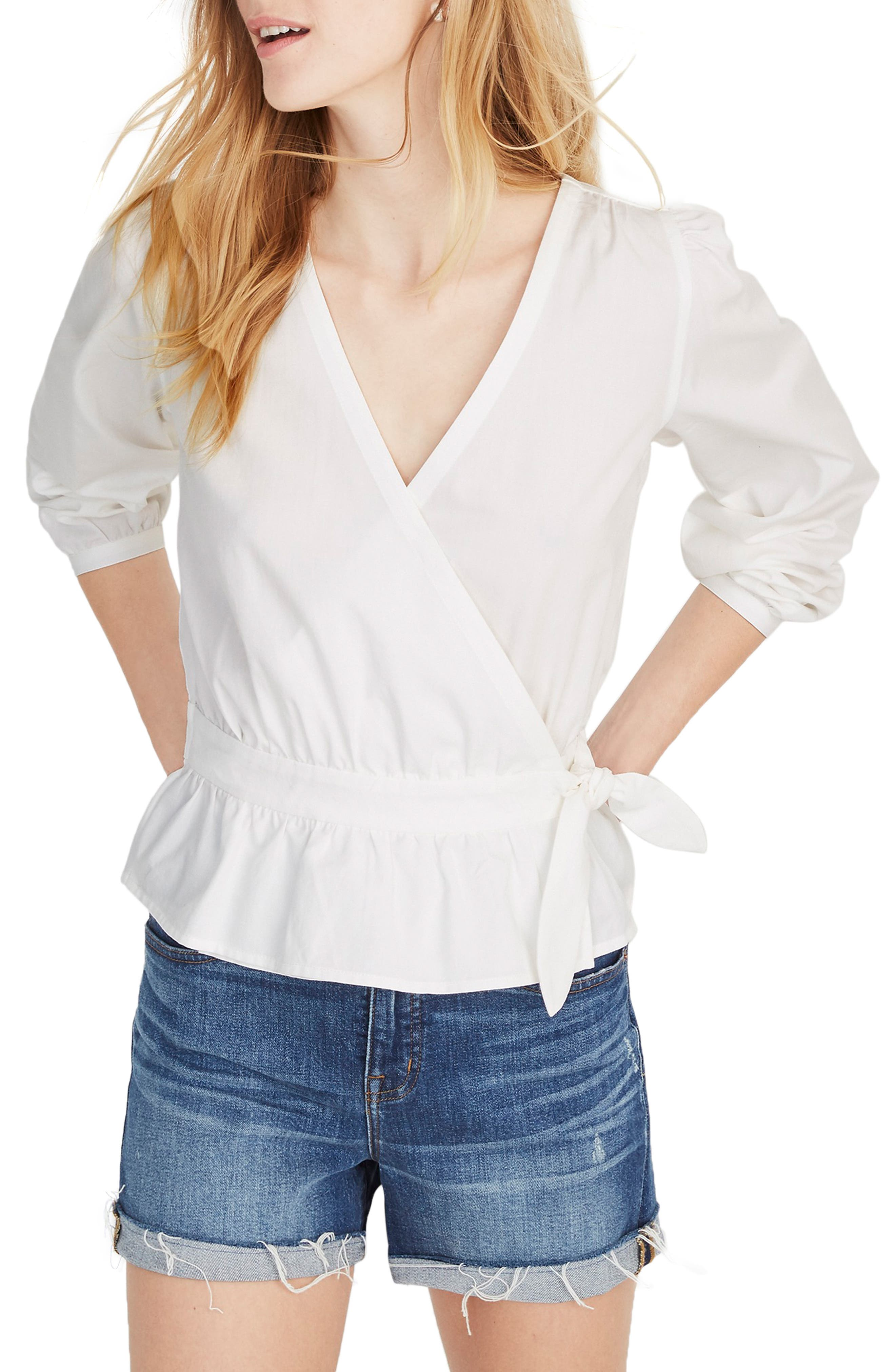 MADEWELL Puff Sleeve Peplum Wrap Top, Main, color, PURE WHITE