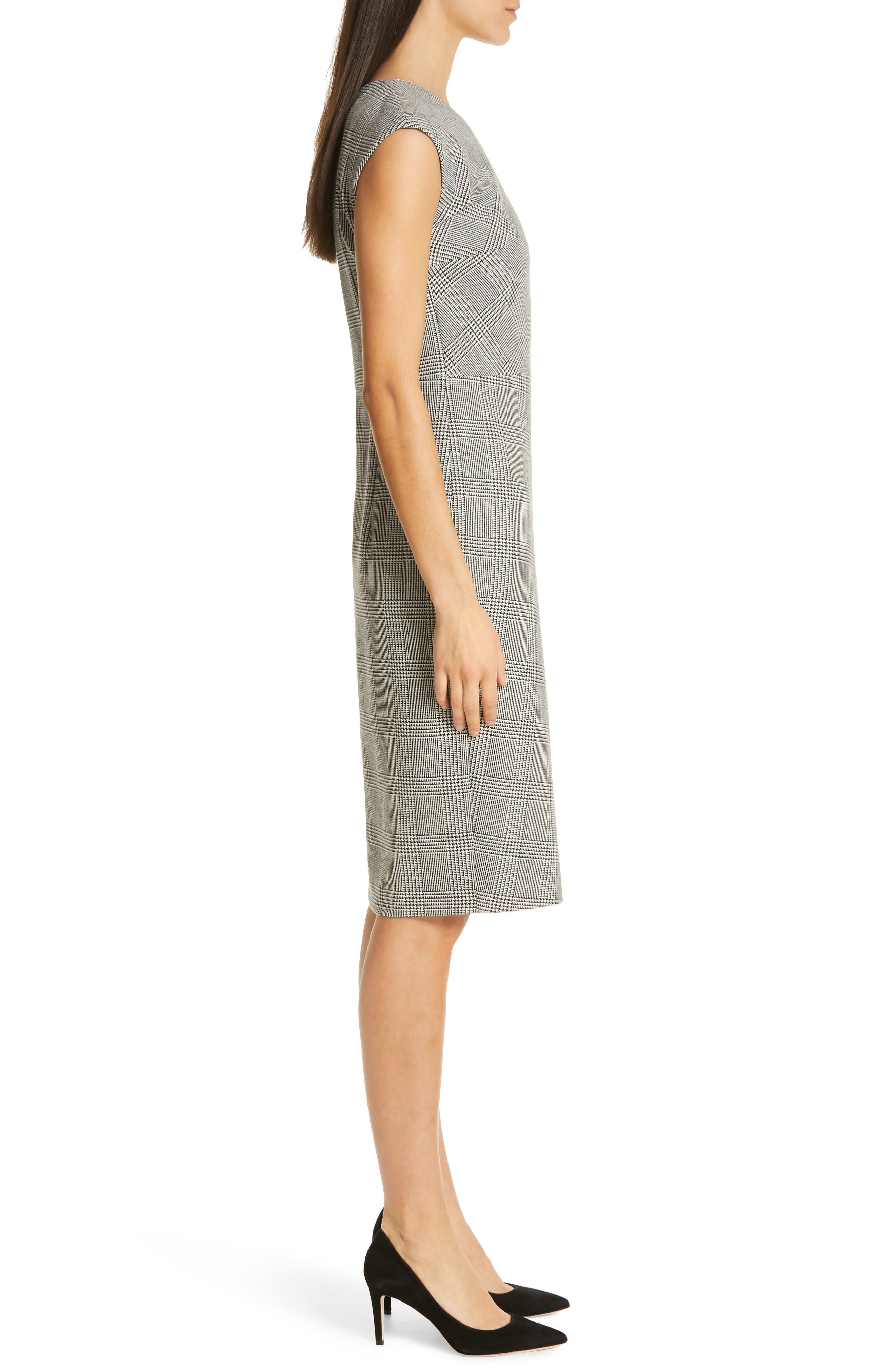 BOSS, Dechesta Glen Plaid Sheath Dress, Alternate thumbnail 4, color, 020