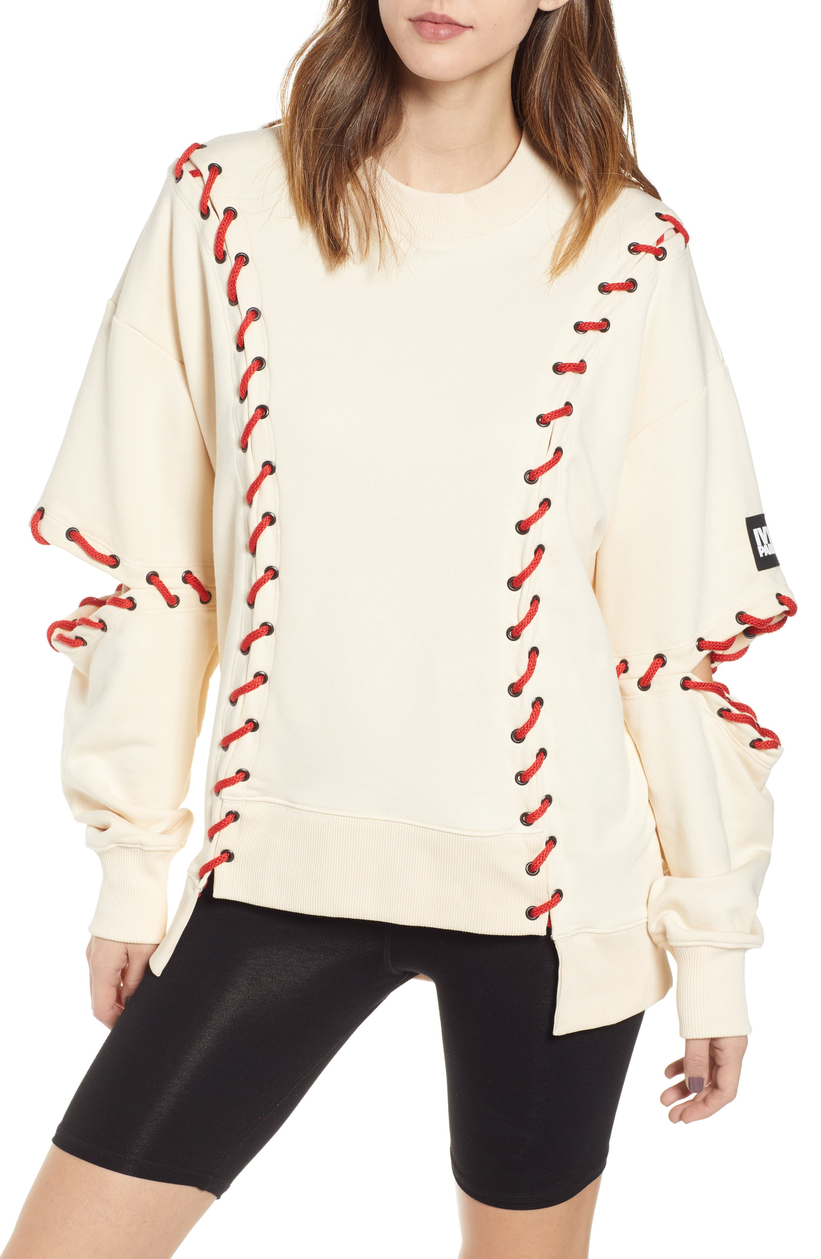IVY PARK<SUP>®</SUP>, Baseball Stitch Sweatshirt, Main thumbnail 1, color, BRAZILIAN SAND