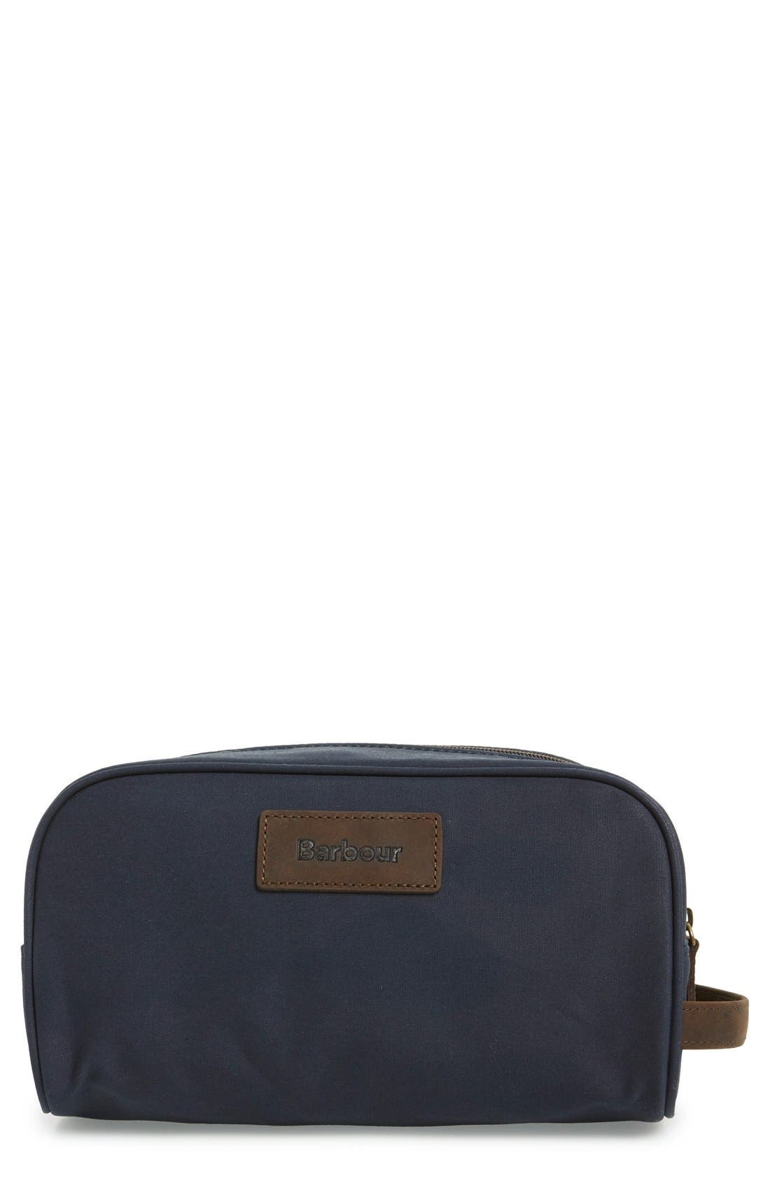 BARBOUR Waxed Canvas Travel Kit, Main, color, 410