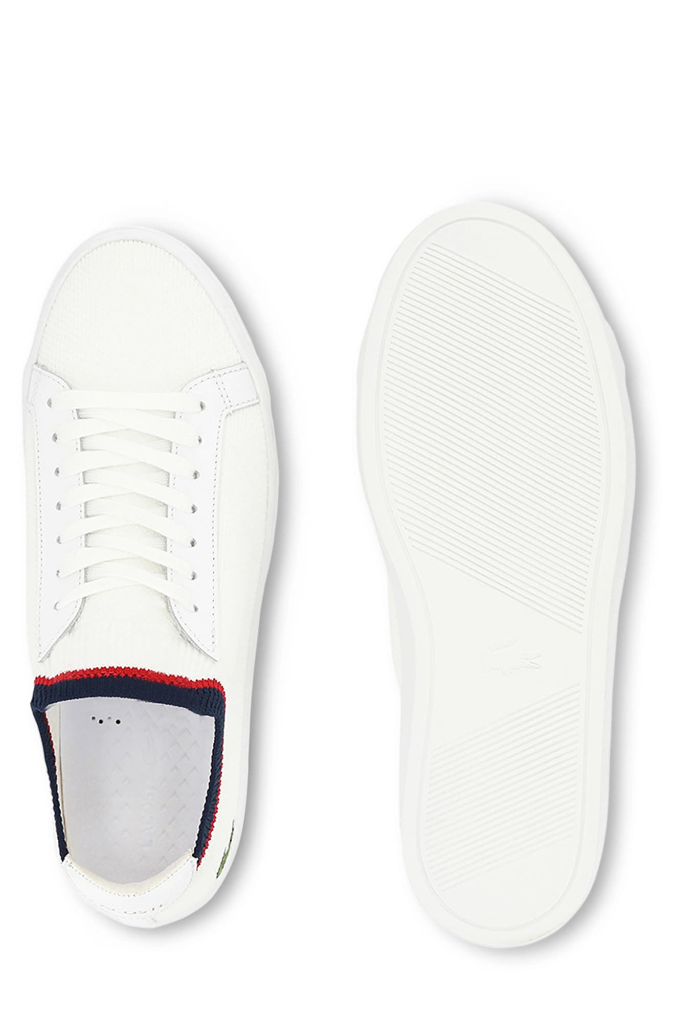LACOSTE, Piqué Knit Sneaker, Alternate thumbnail 9, color, WHITE/ NAVY/ RED