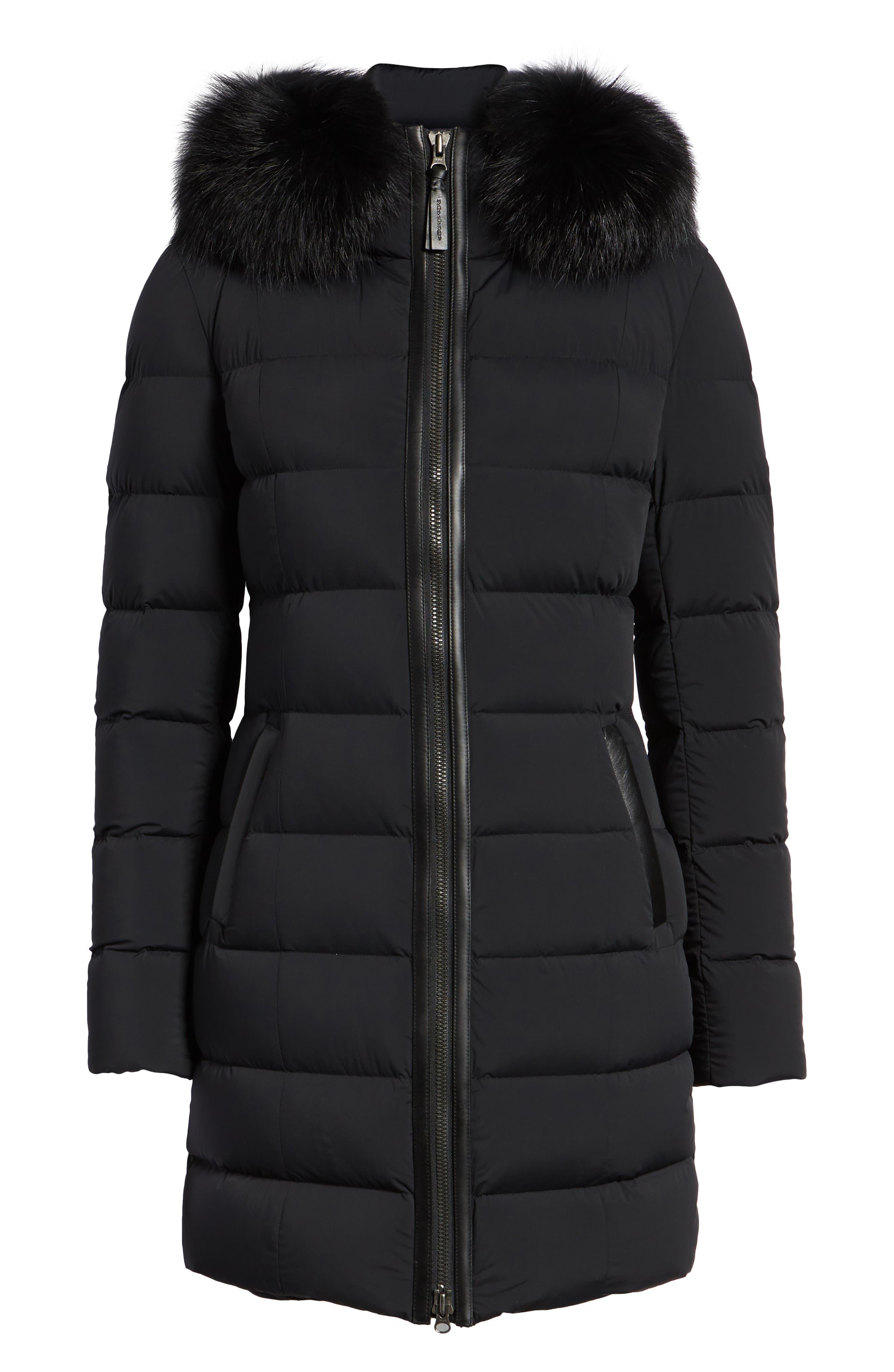 MACKAGE, Calla Genuine Fox Fur Trim Hooded Down Coat, Alternate thumbnail 6, color, BLACK