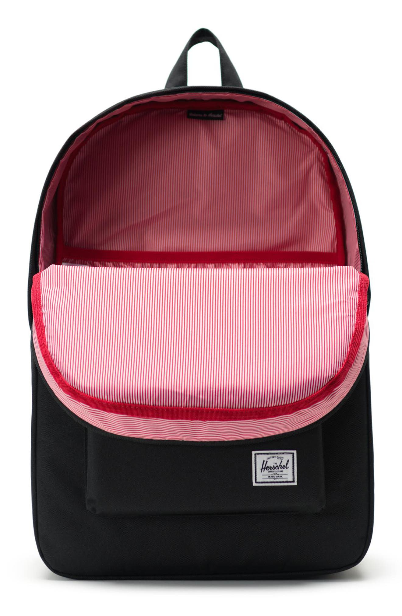 HERSCHEL SUPPLY CO., Heritage Print Backpack, Alternate thumbnail 4, color, 001