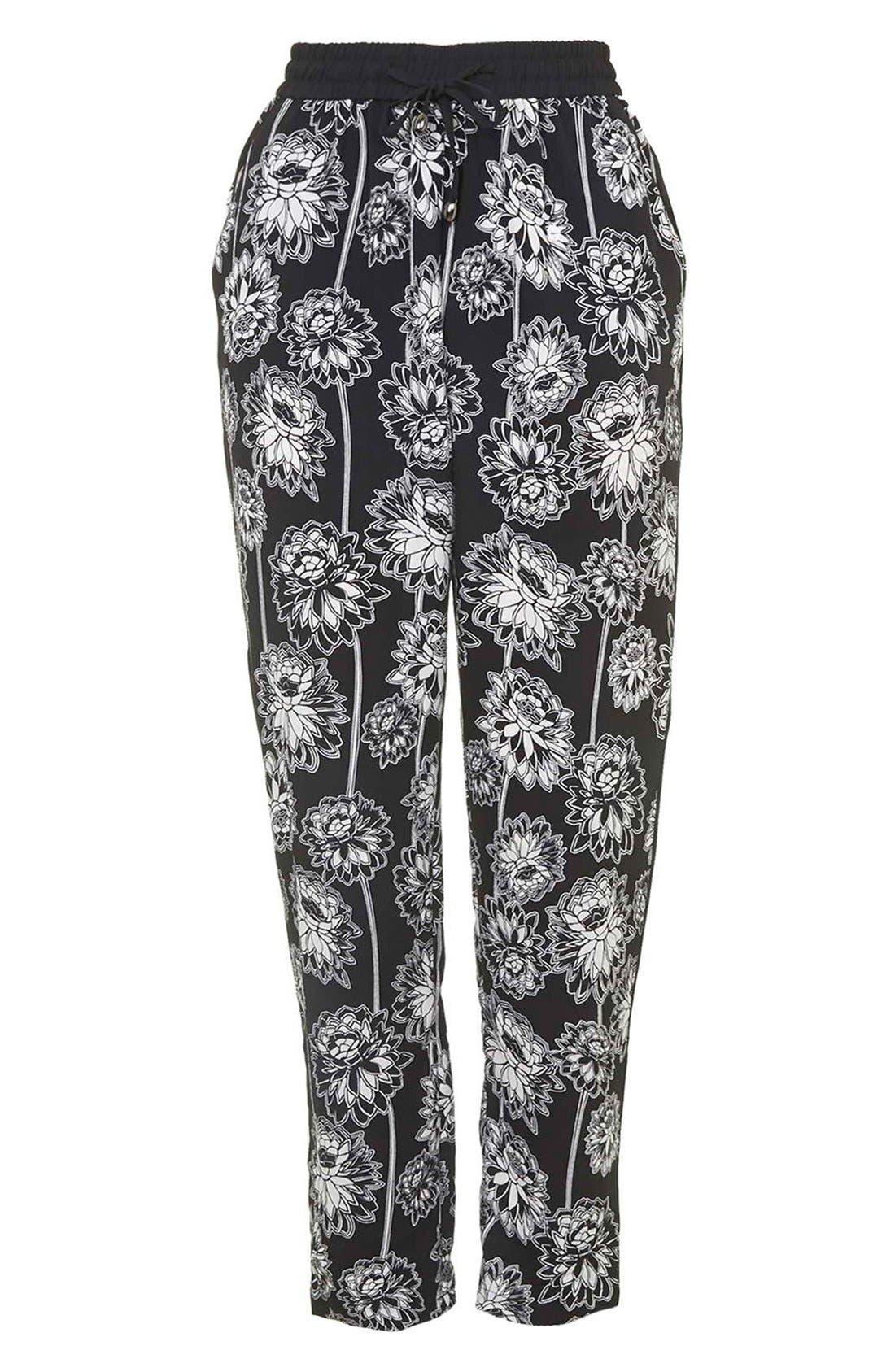 TOPSHOP, 'Shoto' Woven Floral Pants, Alternate thumbnail 4, color, 001