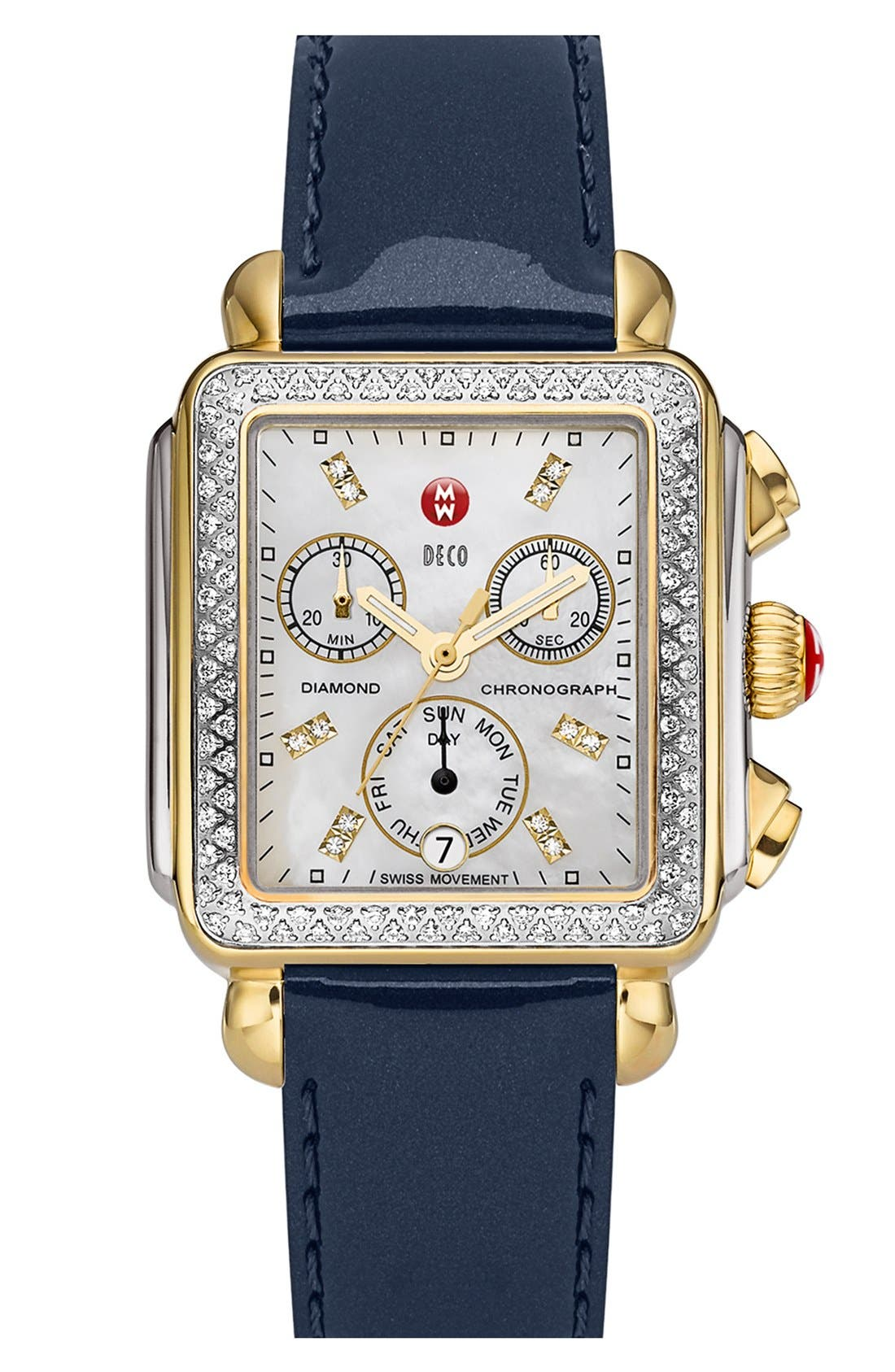 MICHELE, Deco Diamond Diamond Dial Two-Tone Watch Case, 33mm x 35mm, Alternate thumbnail 2, color, SILVER/ GOLD