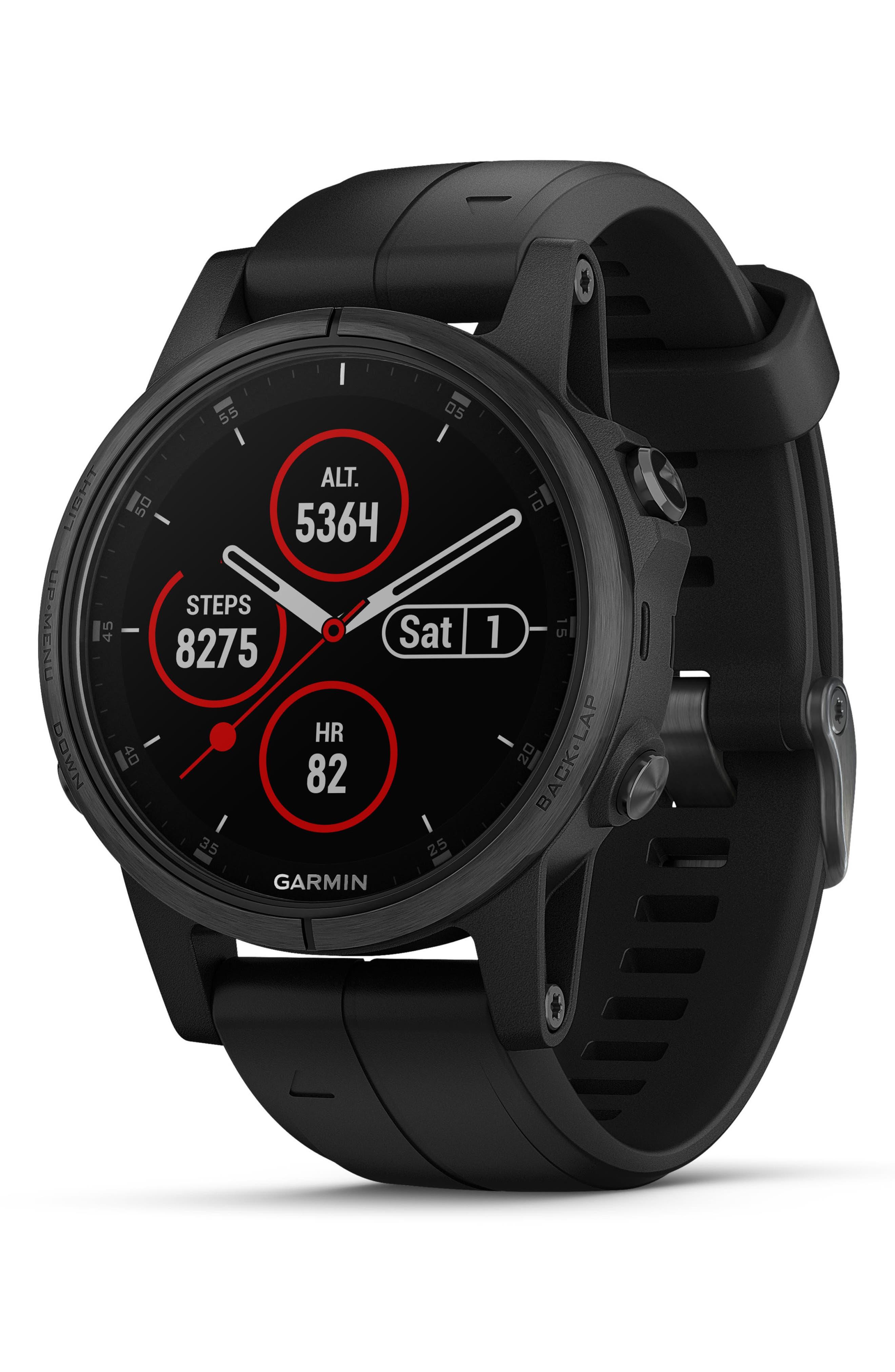 GARMIN, fenix<sup>®</sup> 5S Plus Sapphire Premium Multisport GPS Watch, 42mm, Main thumbnail 1, color, BLACK