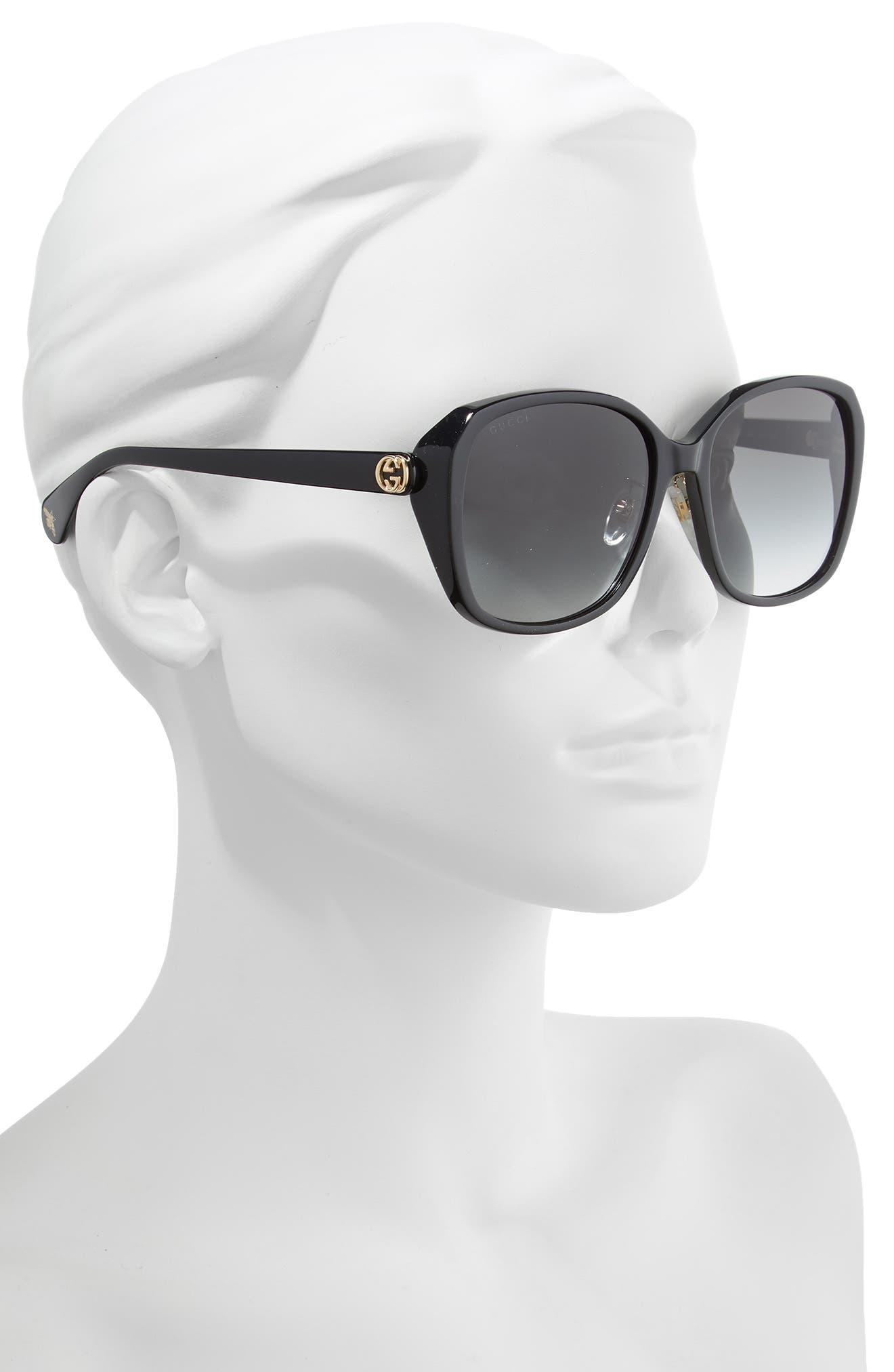 GUCCI, 57mm Square Sunglasses, Alternate thumbnail 2, color, BLACK