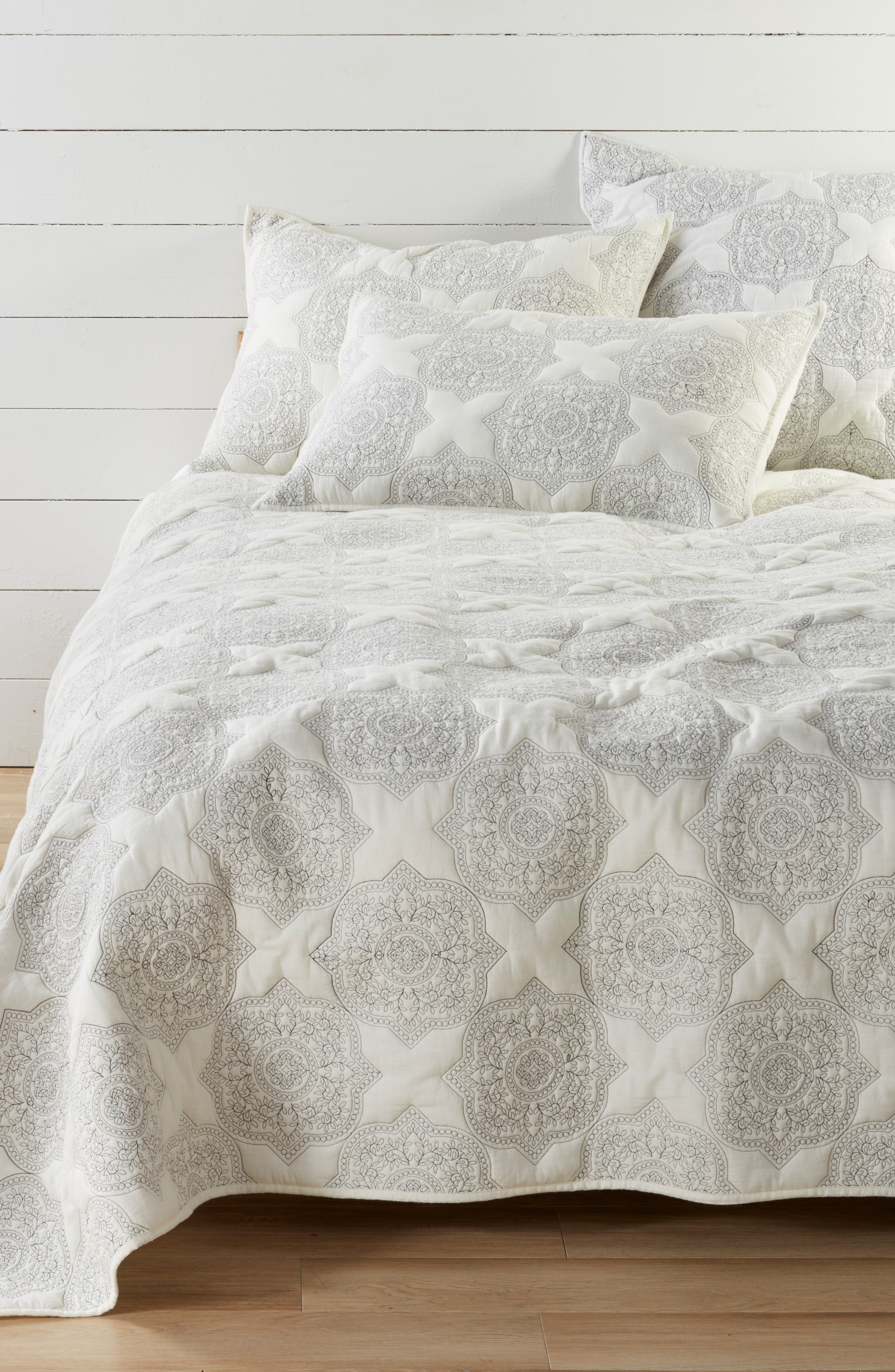 NORDSTROM AT HOME, Ria Embroidered Quilt, Main thumbnail 1, color, IVORY