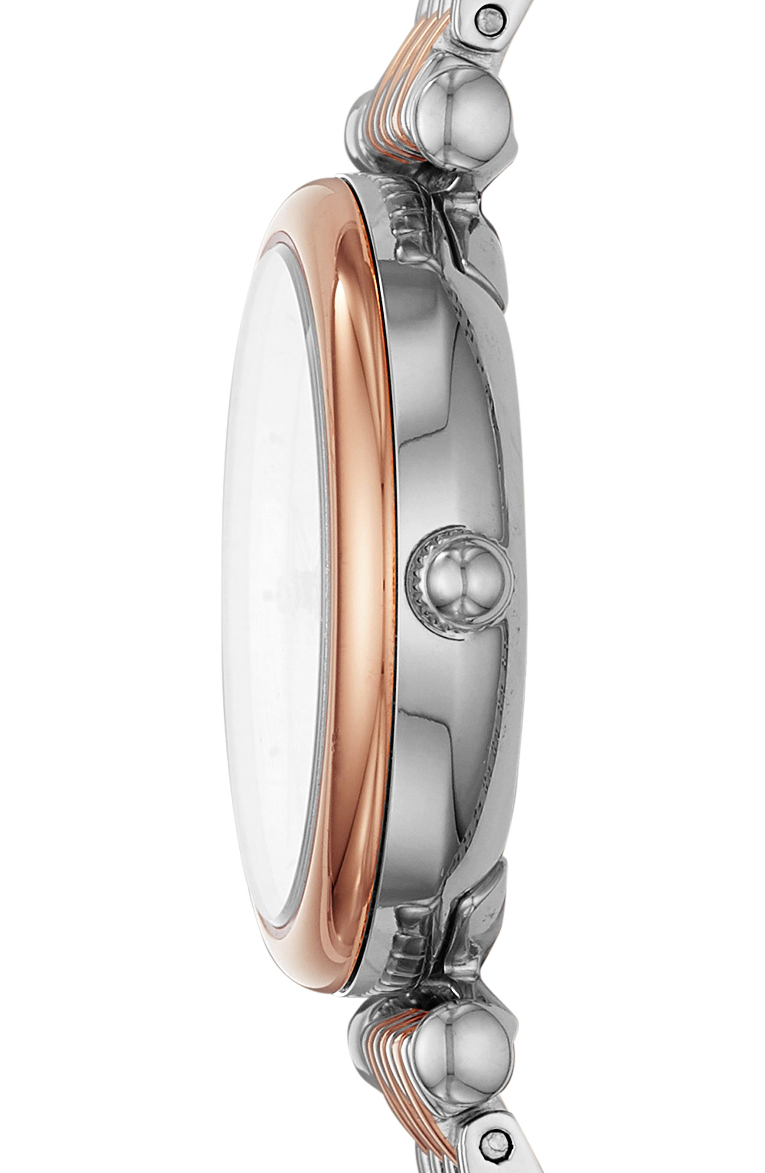 FOSSIL, Mini Carlie Bracelet Watch, 29mm, Alternate thumbnail 2, color, ROSE GOLD/MOTHER PEARL/SILVER